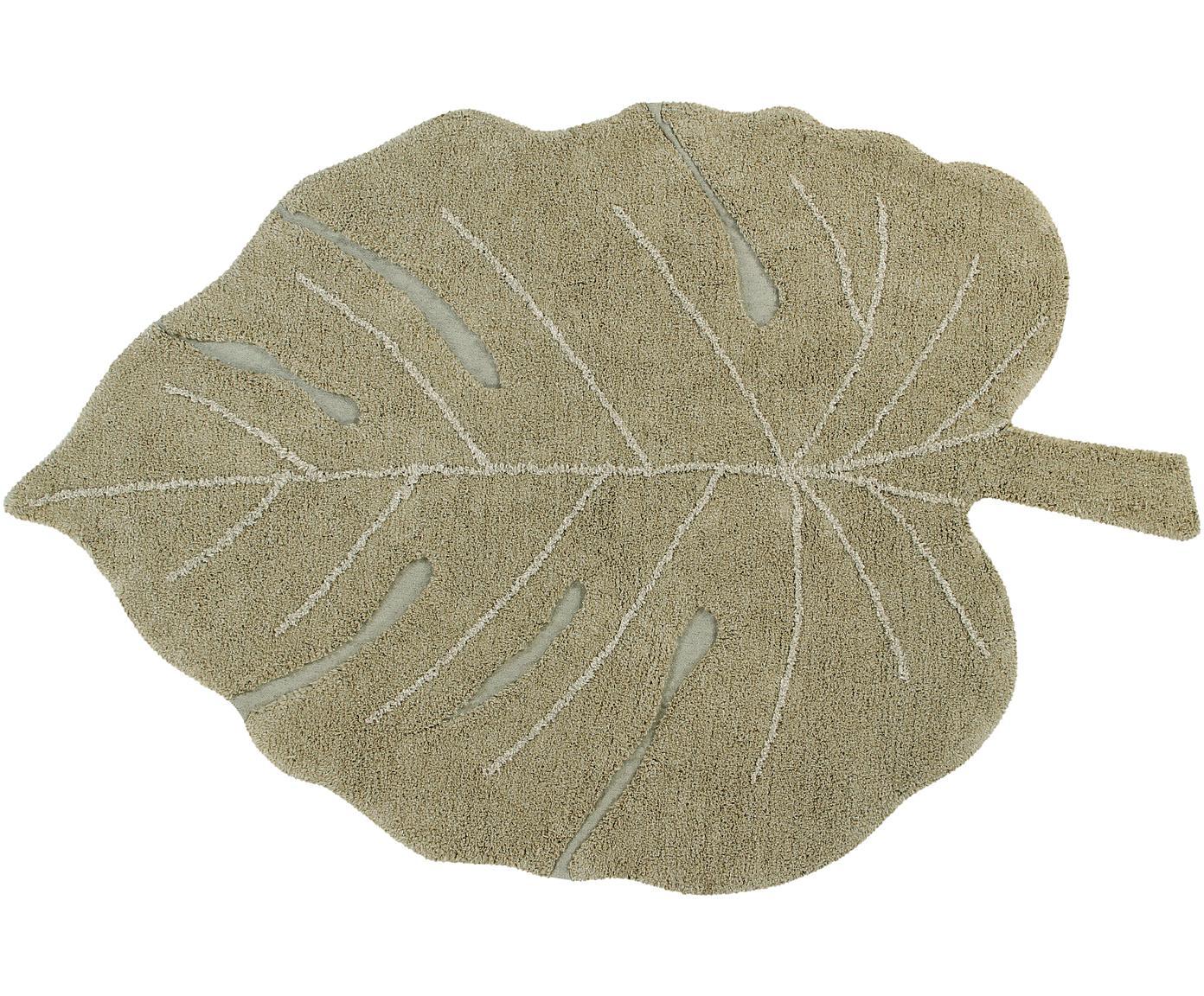 Alfombra artesanal Monstera, lavable, Parte superior: 97%algodón, 3%algodón r, Reverso: algodón reciclado, Verde, crema, An 120 x L 180 cm (Tamaño S)
