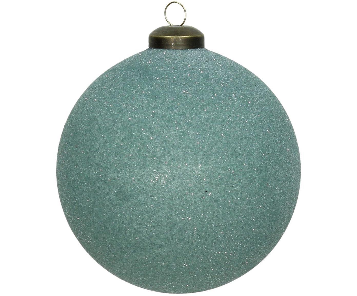 Weihnachtskugeln Bend Ø10cm, 2Stück, Glas, Türkis, Ø 10 cm