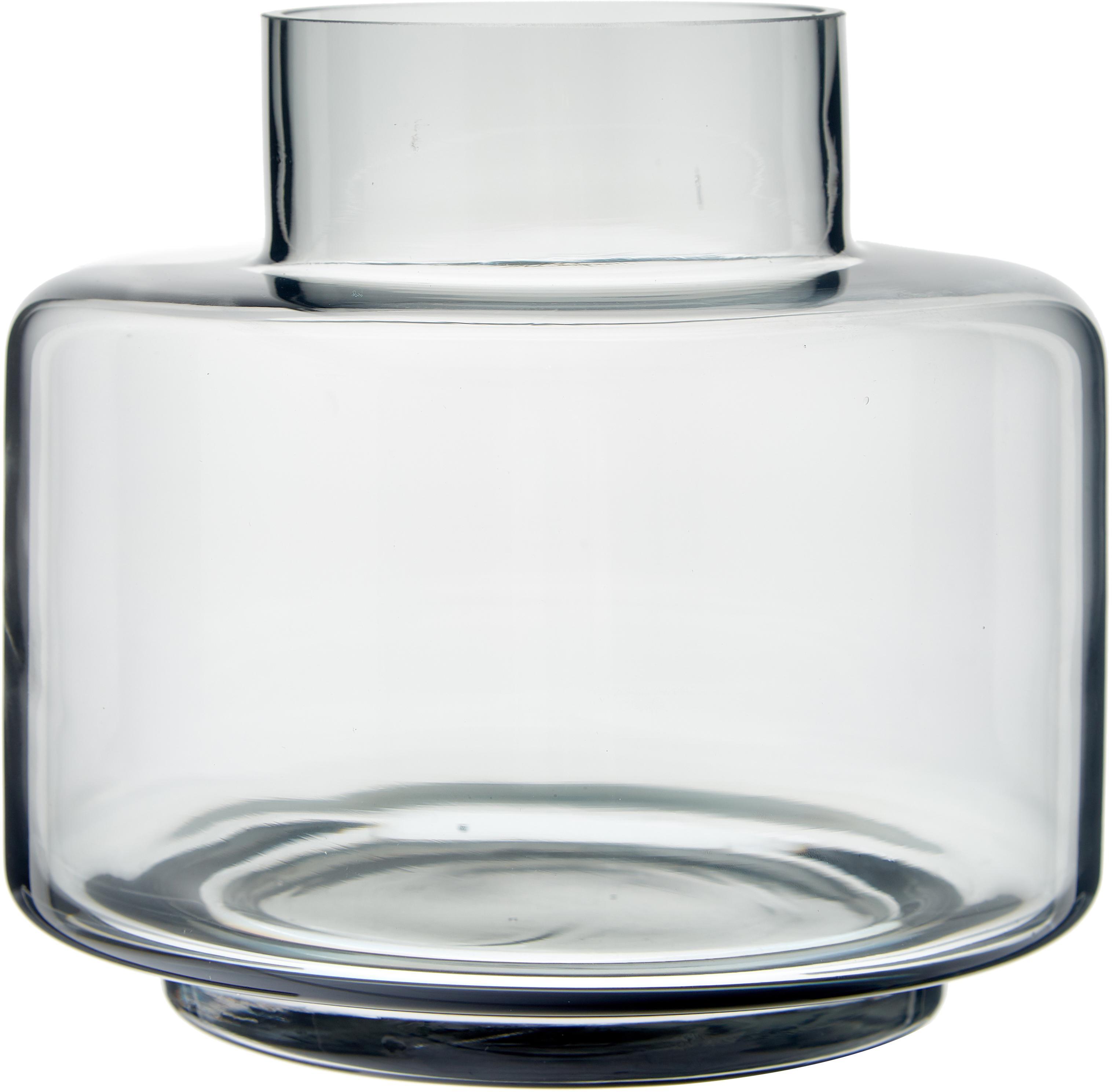 Vaso in vetro soffiato Hedria, Vetro, Grigio cipria, Ø 18 x Alt. 16 cm