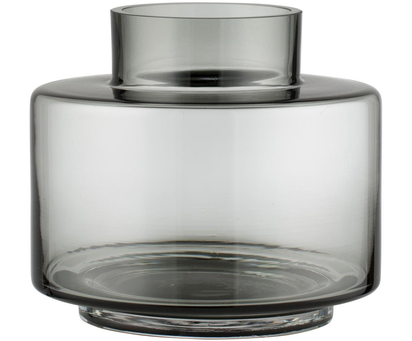 Mondgeblazen vaas Hedria, klein, Glas, Fumé, Ø 18 x H 16 cm