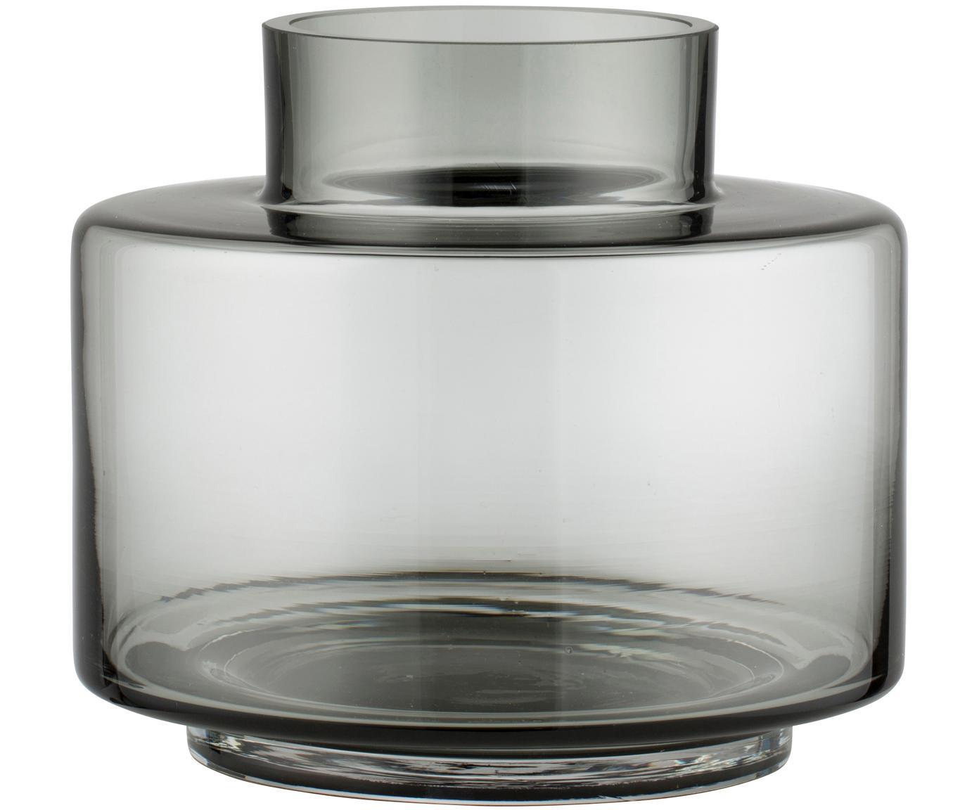 Mundgeblasene Vase Hedria, klein, Glas, Rauchgrau, Ø 18 x H 16 cm