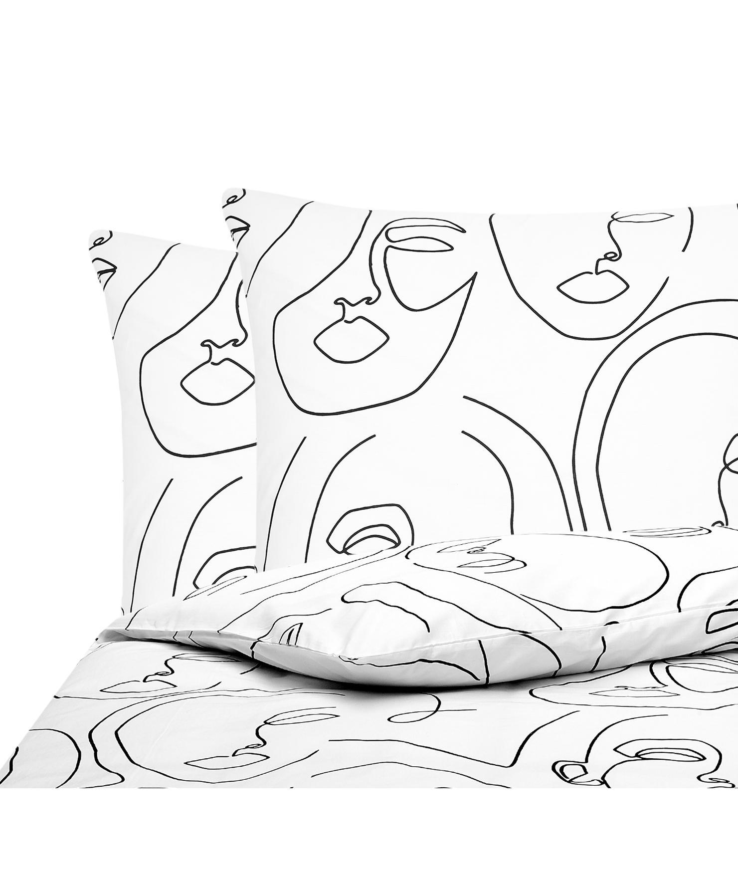 Baumwollperkal-Bettwäsche Aria mit One Line Zeichnung, Webart: Perkal Fadendichte 180 TC, Weiß, Schwarz, 200 x 200 cm + 2 Kissen 80 x 80 cm