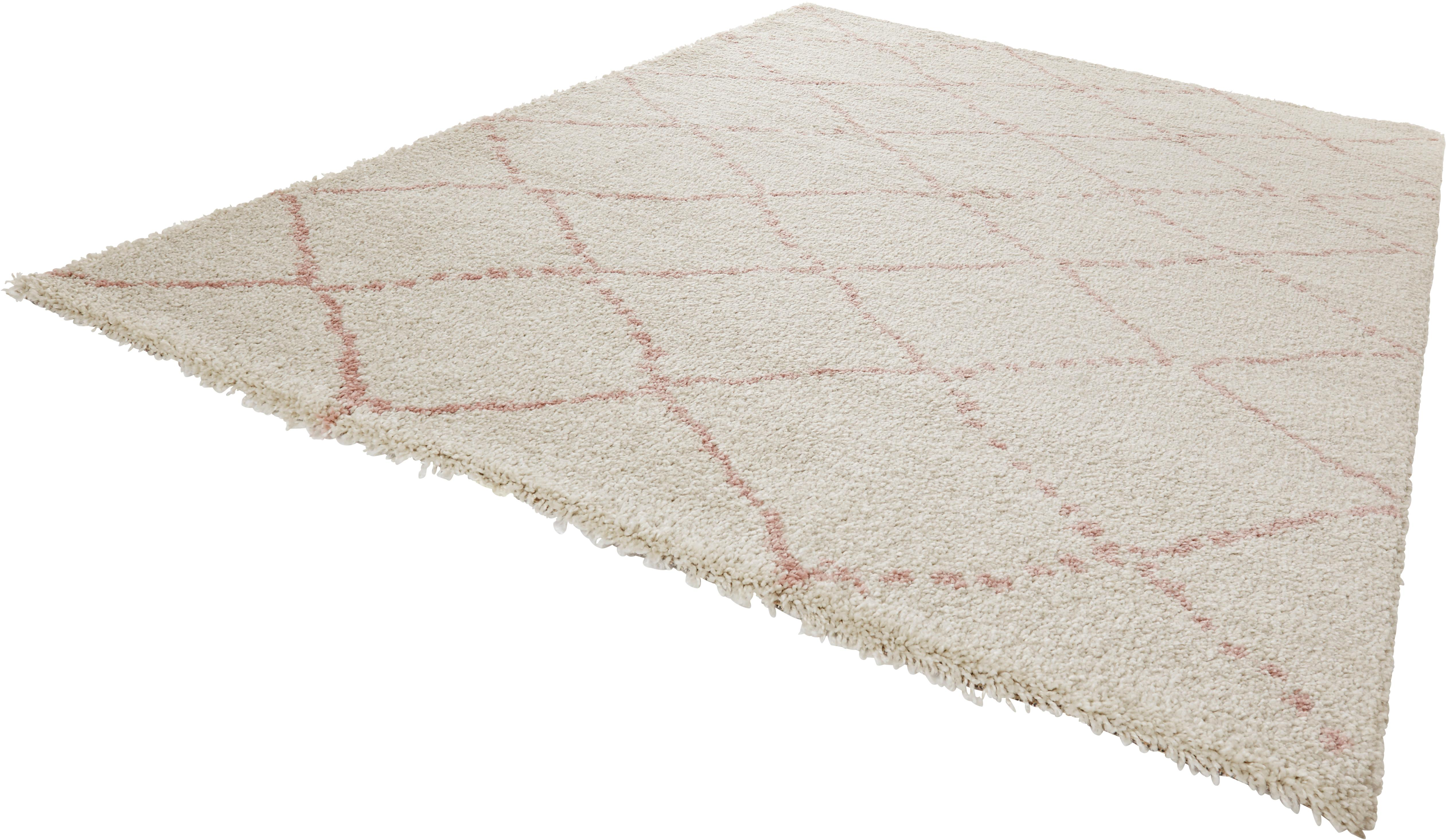 Flauschiger Hochflor-Teppich Hash in Rosa/Creme, Flor: 100% Polypropylen, Cremefarben, Rosa, B 80 x L 150 cm (Größe XS)