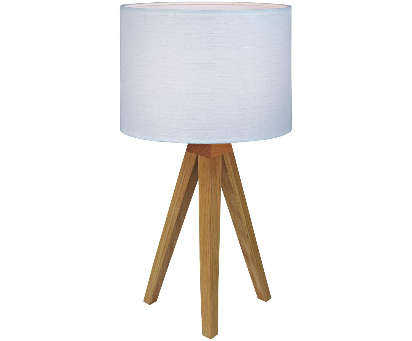 Tafellamp Kullen, Lampvoet: eikenhout, Lampenkap: polyester, Lampvoet: eikenhoutkleurig. Lampenkap: wit, Ø 23 x H 44 cm