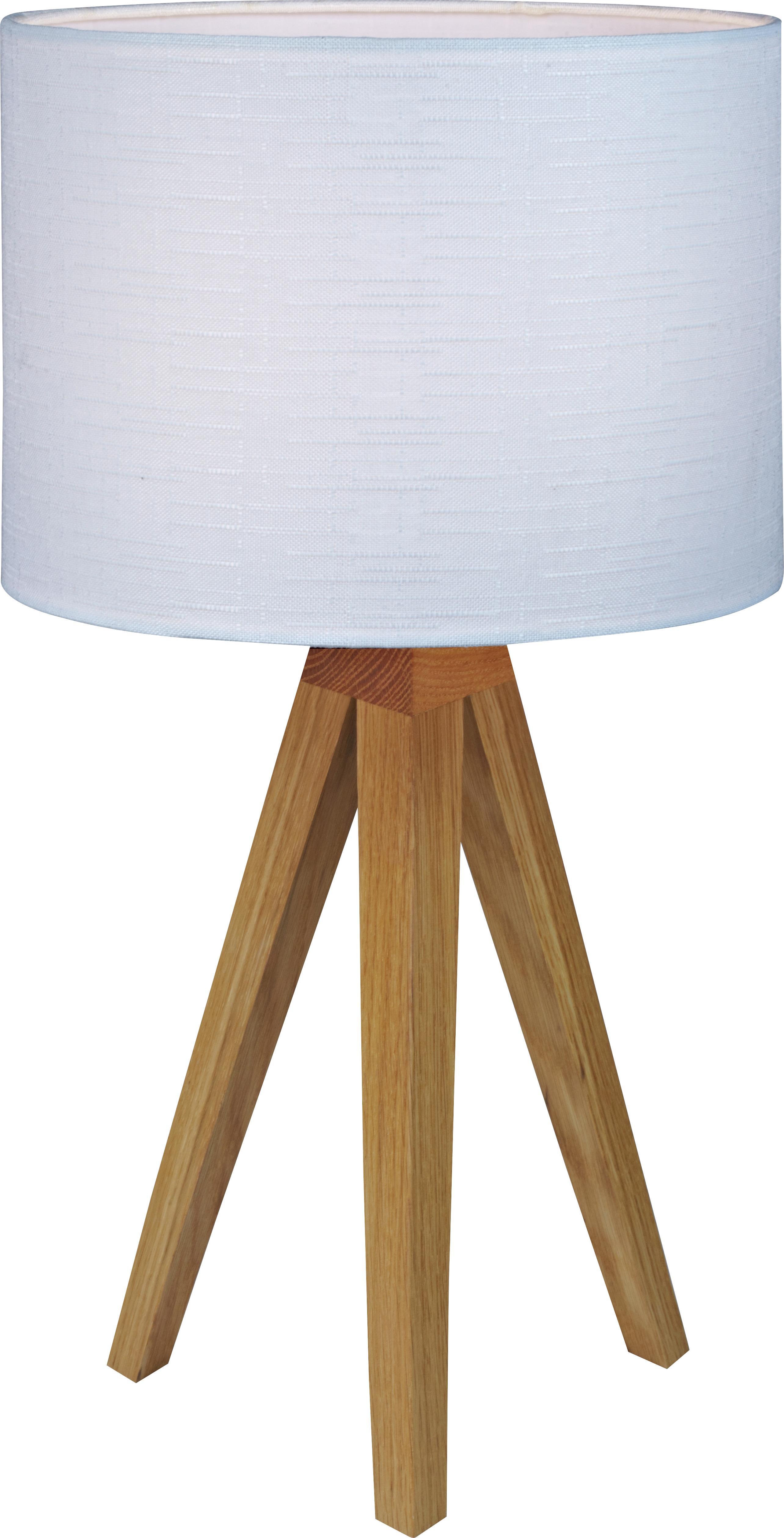 Tischleuchte Kullen aus Eichenholz, Lampenfuß: Eichenholz, Lampenschirm: Polyester, Lampenfuß: Eichenholz Lampenschirm: Weiß, Ø 23 x H 44 cm