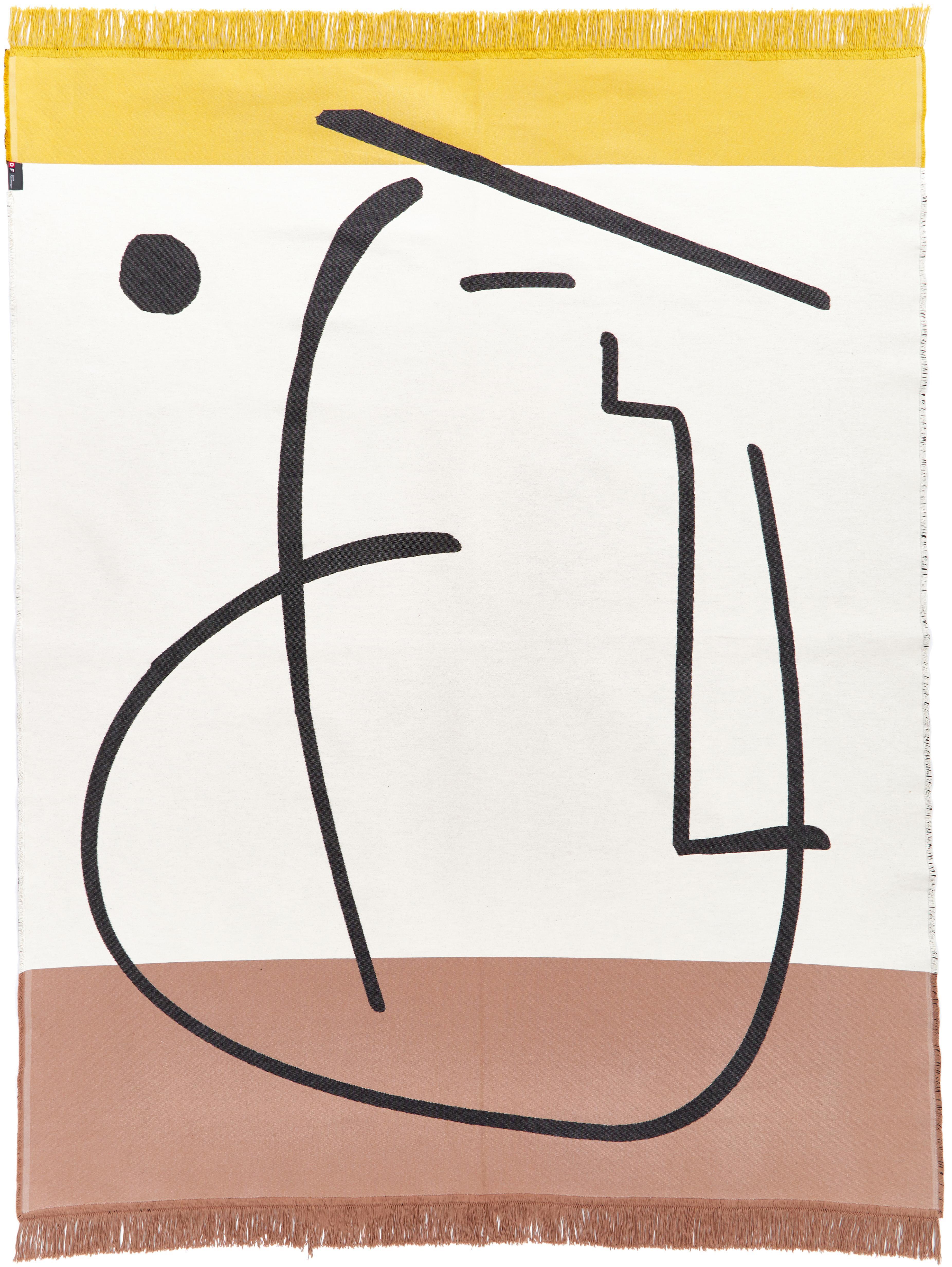 Teppich Goliath Gesicht mit Fransen und geometrischem Muster, 150x200cm, Recycelte Baumwolle, Mehrfarbig, B 150 x L 200 cm (Grösse S)