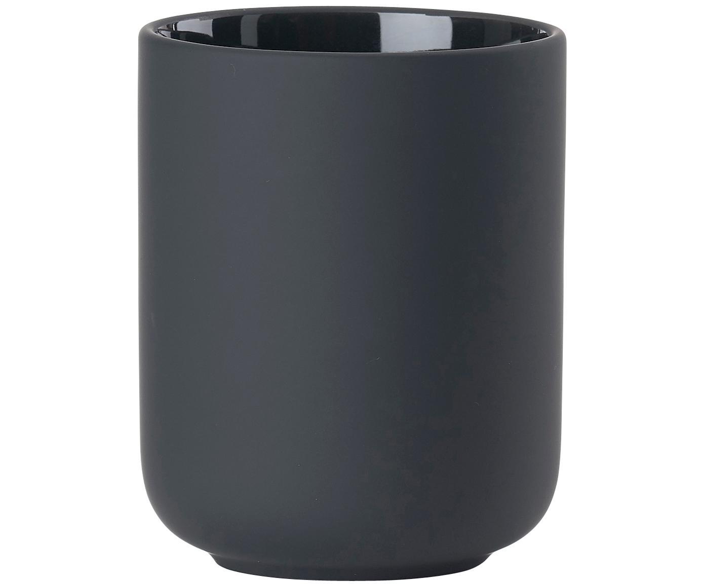 Kubek na szczoteczki z kamionki Omega, Ceramika pokryta miękką w dotyku powłoką (tworzywo sztuczne), Czarny, matowy, Ø 8 x W 10 cm