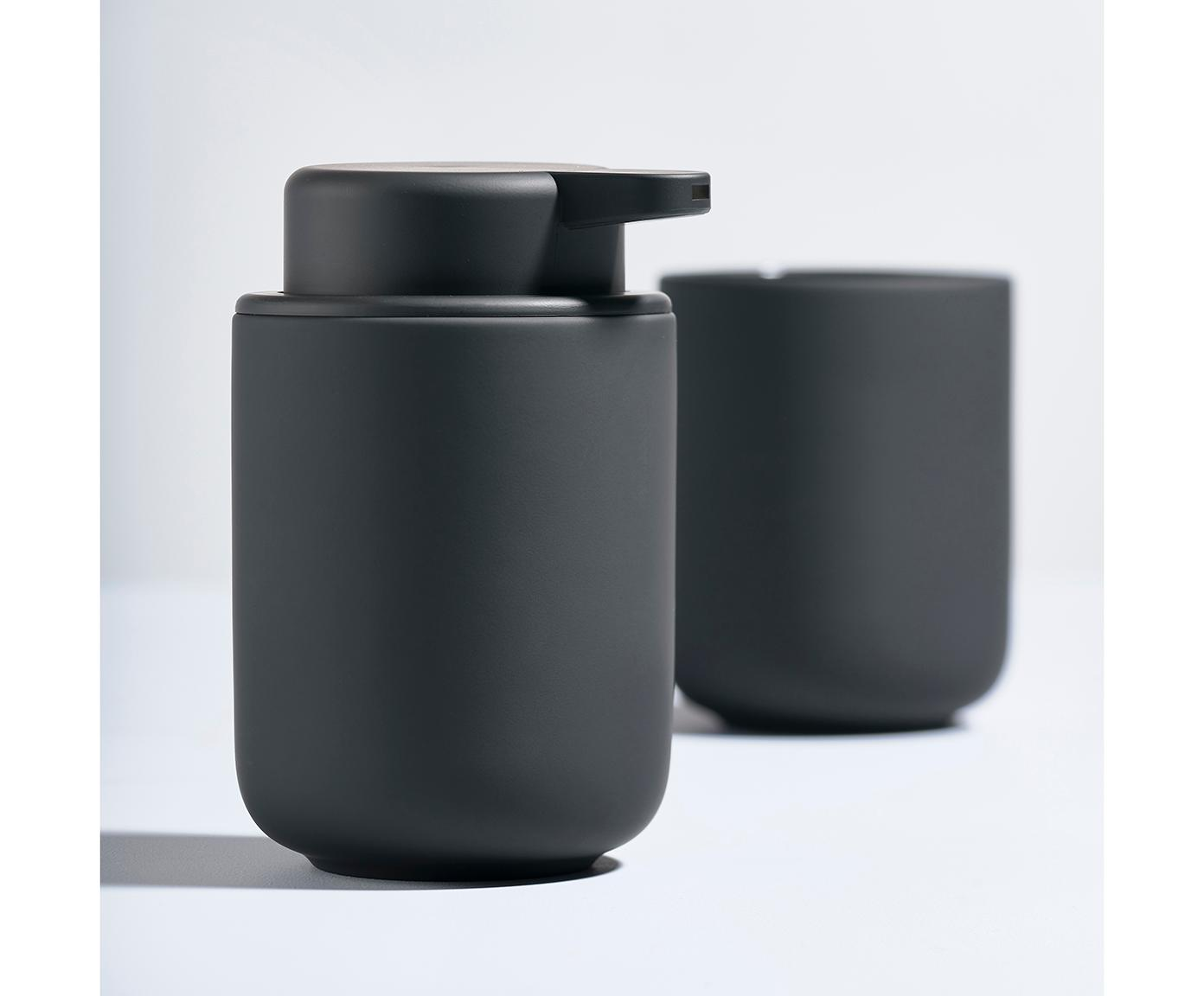 Tandenborstelbeker Omega, Keramiek overtrokken met soft-touch oppervlak (kunststof), Mat zwart, Ø 8 x H 10 cm