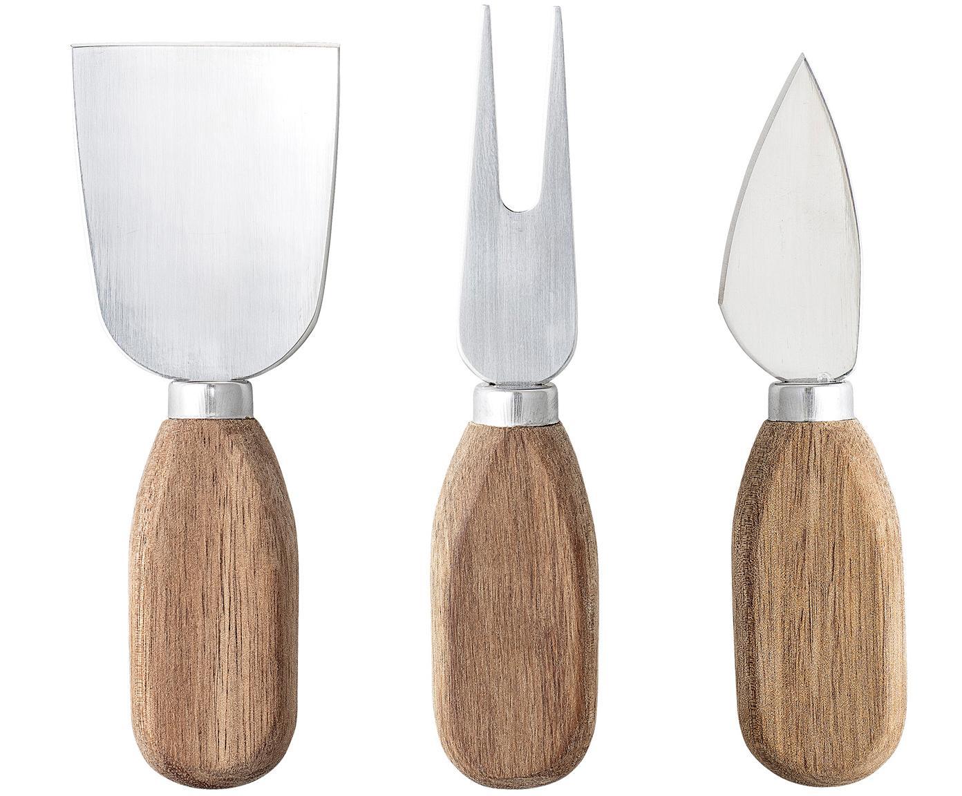 Zilveren kaasset Chase met handvat van acaciahout, 3-delig, Bestek: staal, Staalkleurig, acaciahoutkleurig, Verschillende formaten