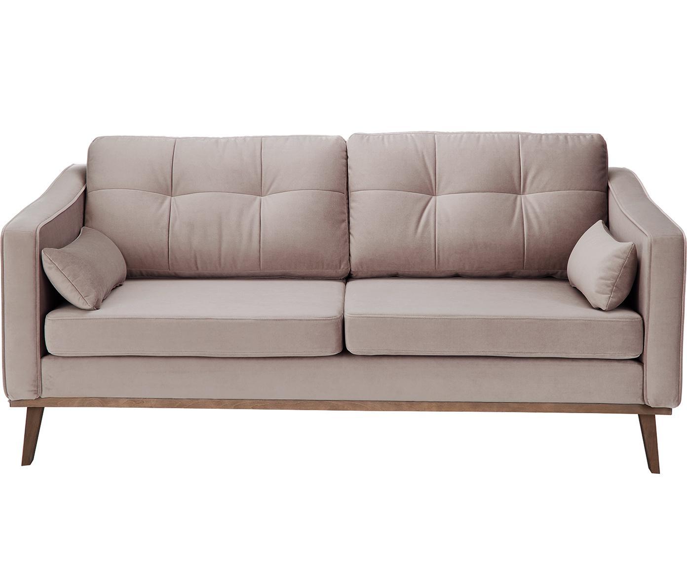 Sofa z aksamitu Alva (2-osobowa), Tapicerka: aksamit (wysokiej jakości, Stelaż: drewno sosnowe, Nogi: lite drewno bukowe, barwi, Taupe, S 184 x G 92 cm