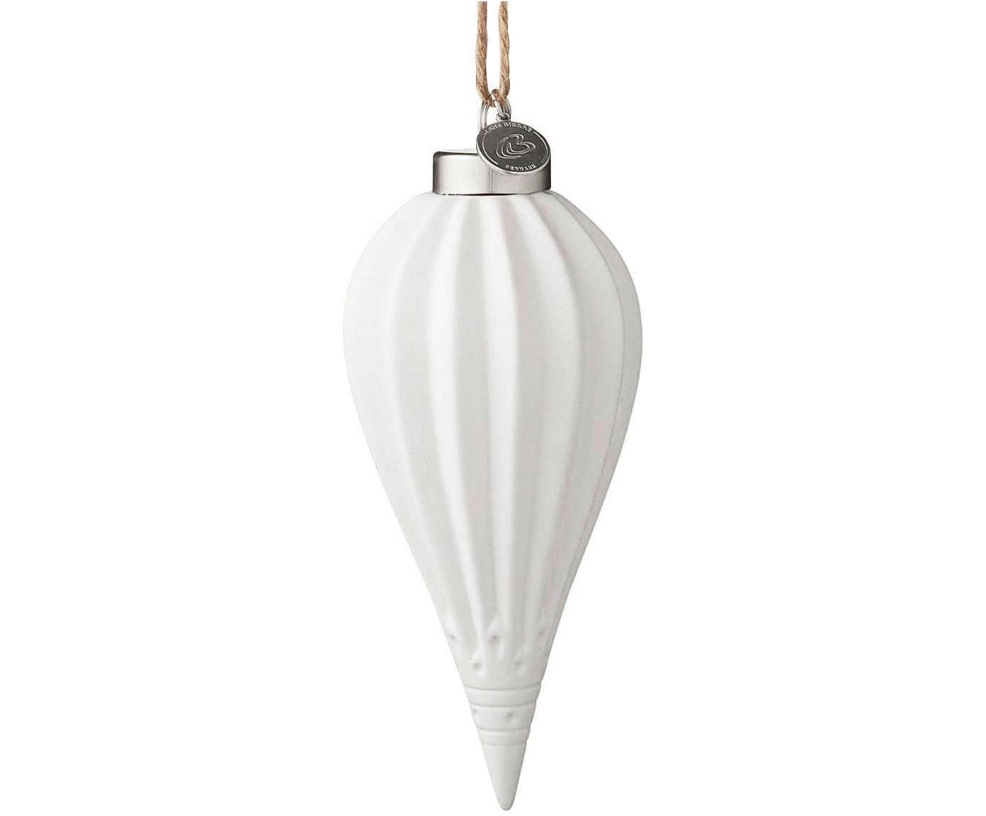 Baumanhänger Delia, 2 Stück, Weiß, Metall, Ø 6 x H 15 cm