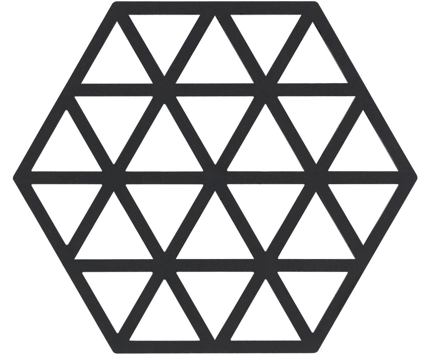 Podstawka pod gorące naczynia z silikonu Triangle, 2 szt., Silikon, Czarny, S 14 x G 16 cm