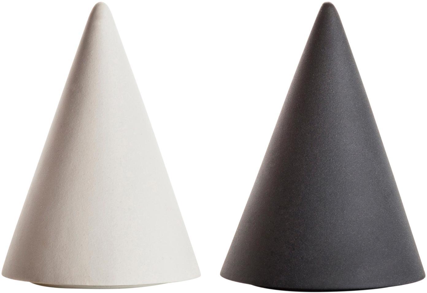 Set de salero y pimientero Cone, 2pzas., Porcelana, silicona, Blanco, gris antracita, Ø 6 x Al 8 cm