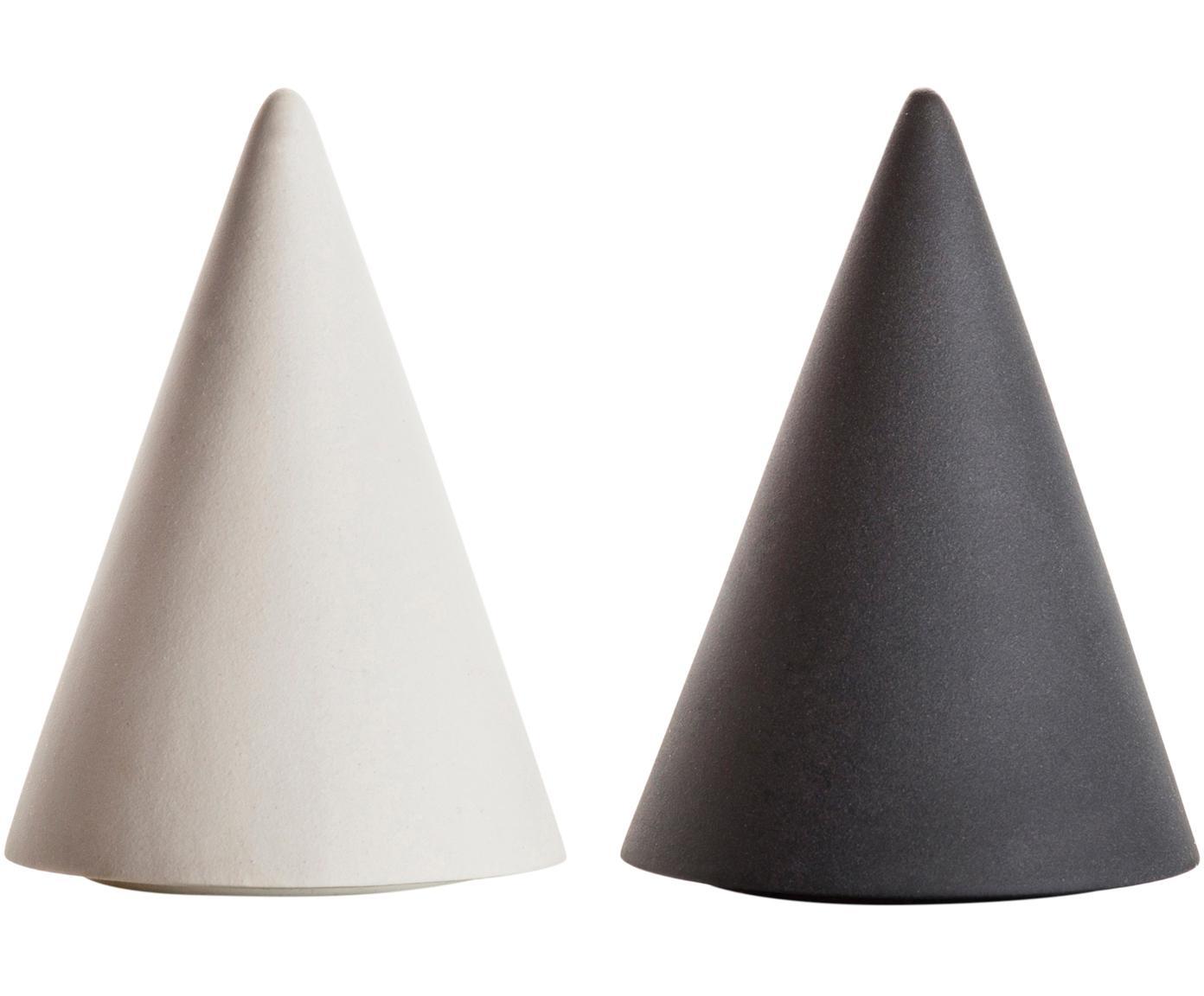 Designer Salz- und Pfefferstreuer Cone aus Porzellan, 2er-Set, Porzellan, Silikon, Weiss, Anthrazit, Ø 6 x H 8 cm