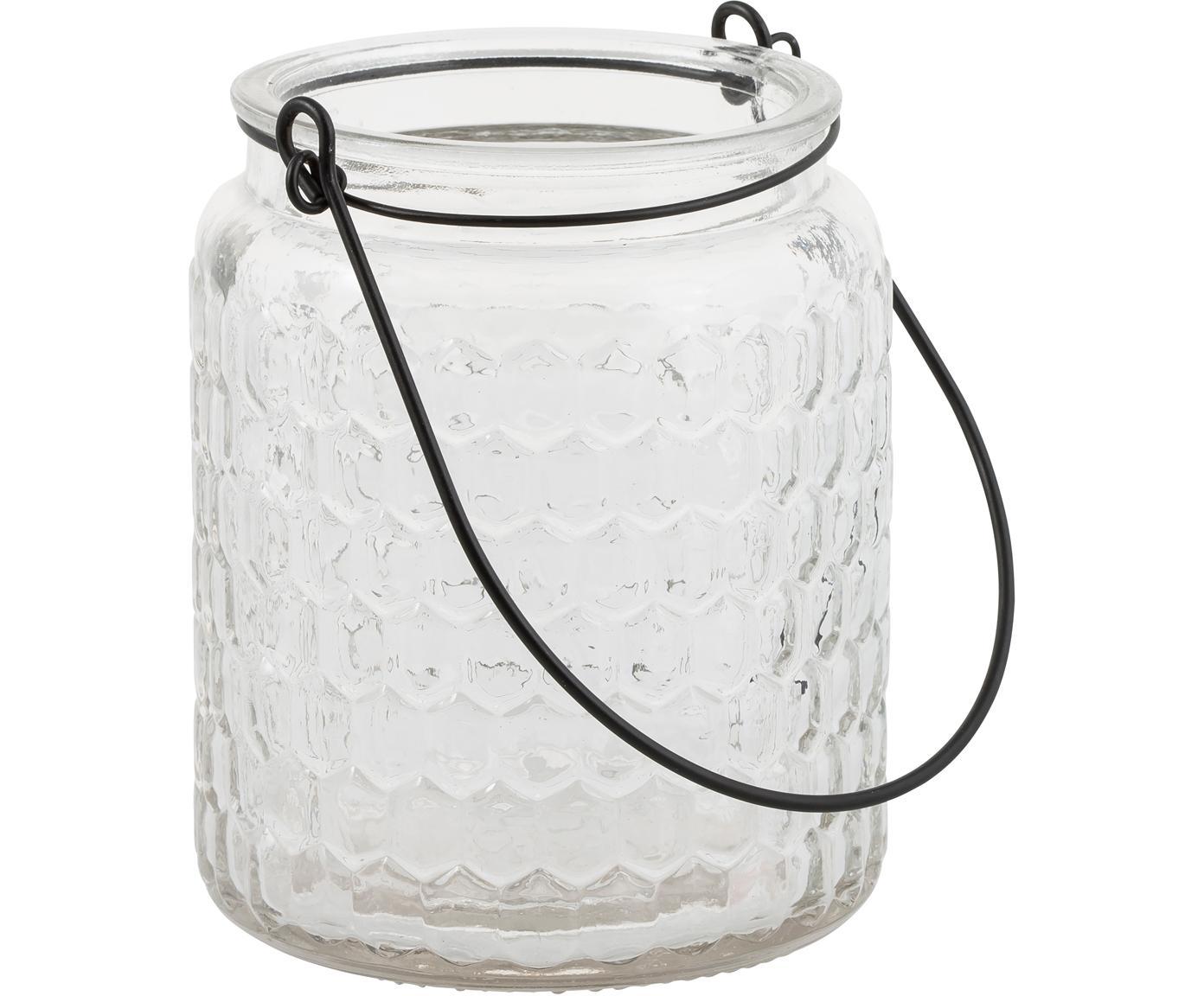 Windlicht Alsace, Glas, Metall, Transparent, Schwarz, Ø 10 x H 12 cm
