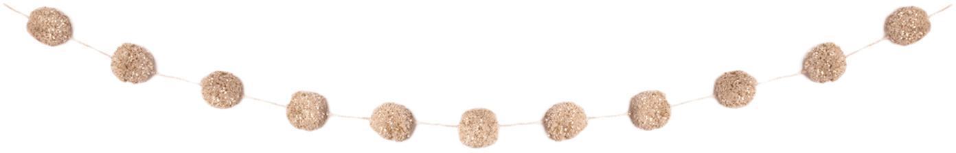 Guirnalda Pompon, Algodón con hilo de lurex, Rosa, dorado, L 450 cm