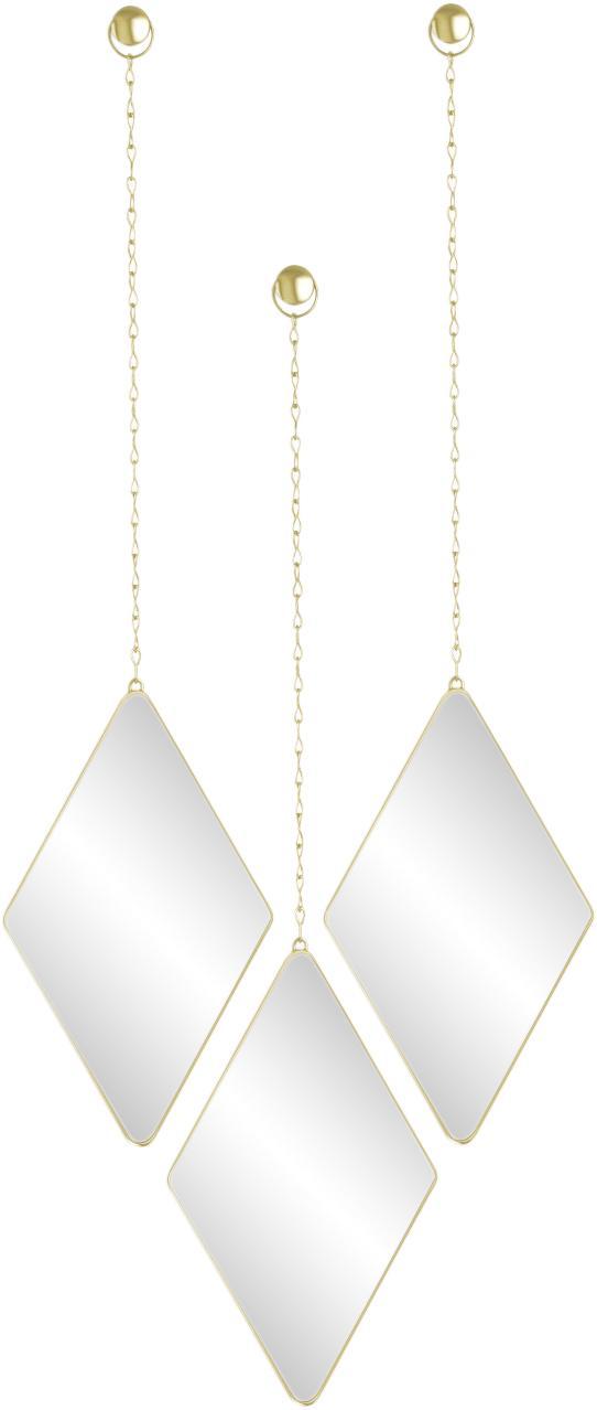 Set 3 specchi da parete Dima, Cornice: metallo rivestito, Superficie dello specchio: lastra di vetro, Dorato, Larg. 18 x Alt. 29 cm