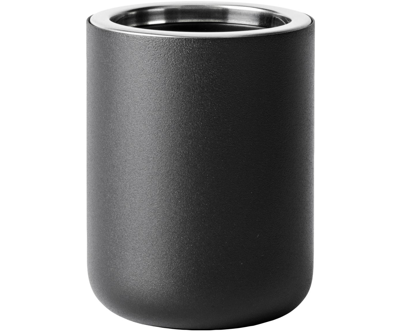 Zahnputzbecher Matty, Metall, Kunststoff, Schwarz, Ø 9 x H 11 cm