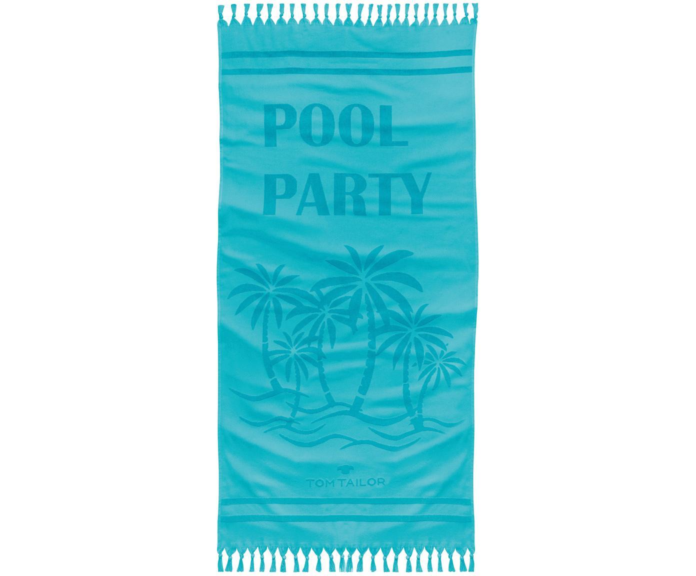 Hamamtuch Pool Party mit Schriftzug & Frottee-Rückseite, Vorderseite: 100% Baumwolle, Rückseite: Frottee, Türkisblau, 90 x 180 cm