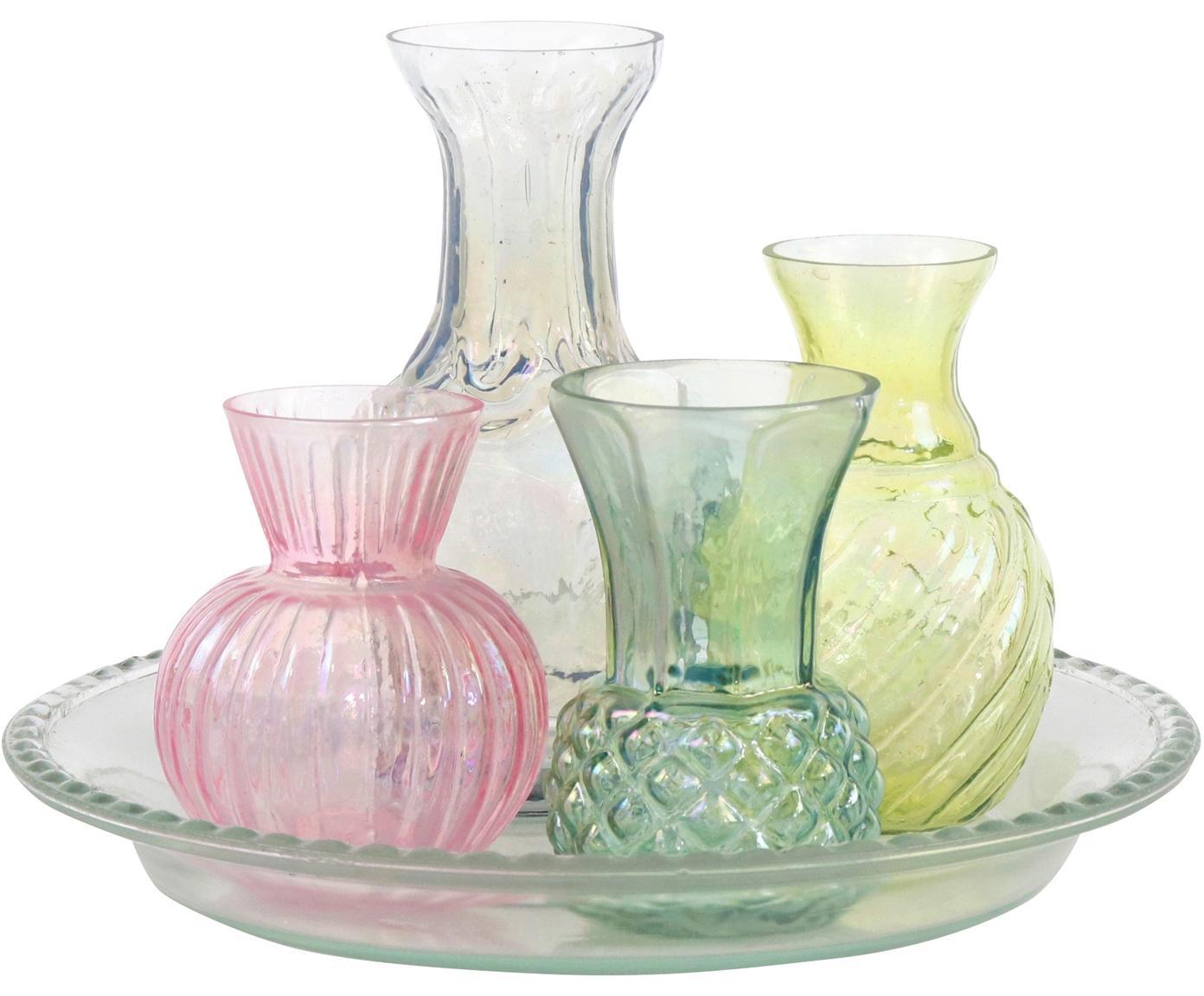 Set vasi in vetro Poesie 5 pz, Vetro, Multicolore, Set in varie misure