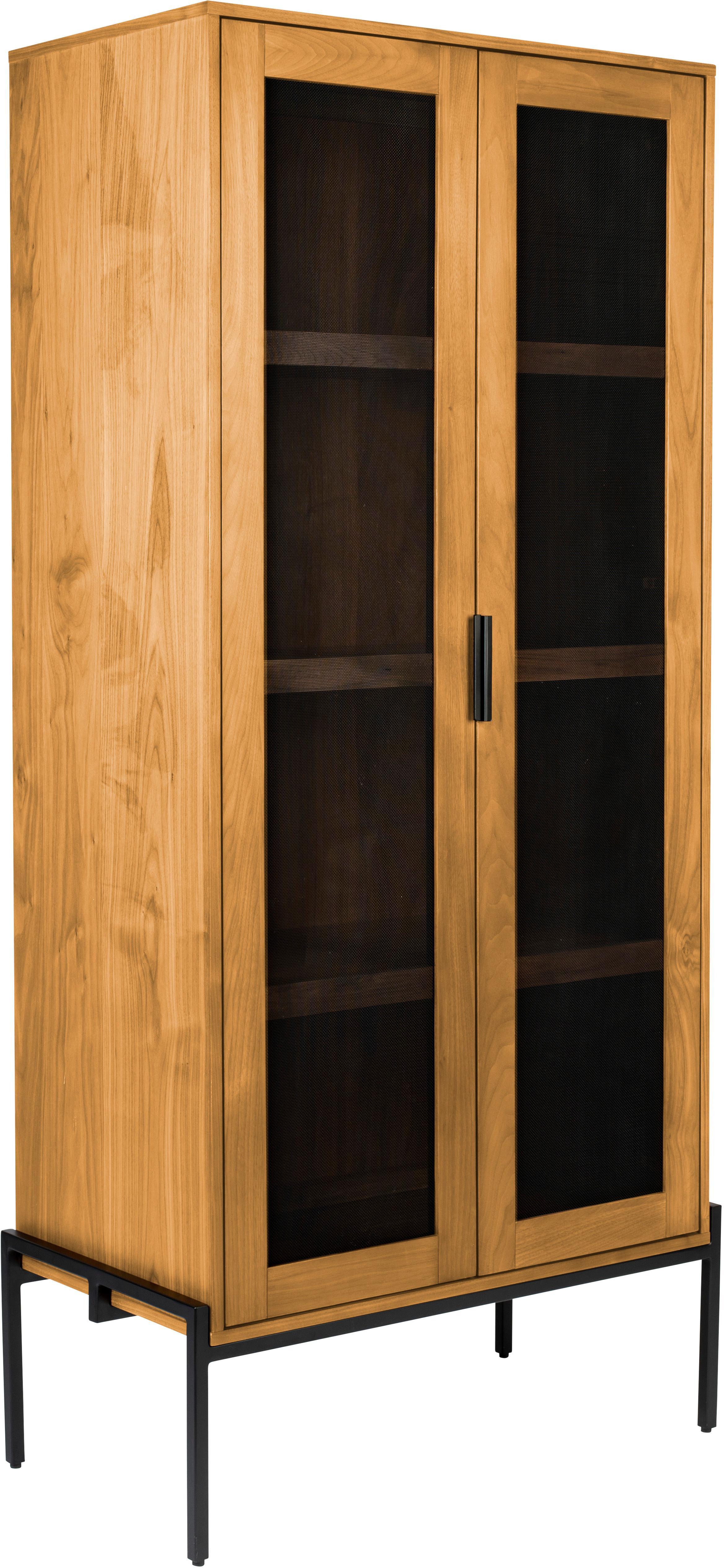 Highboard Hardy, Gestell: Mitteldichte Holzfaserpla, Beine: Metall, beschichtet, Eichenholz, Schwarz, 80 x 180 cm