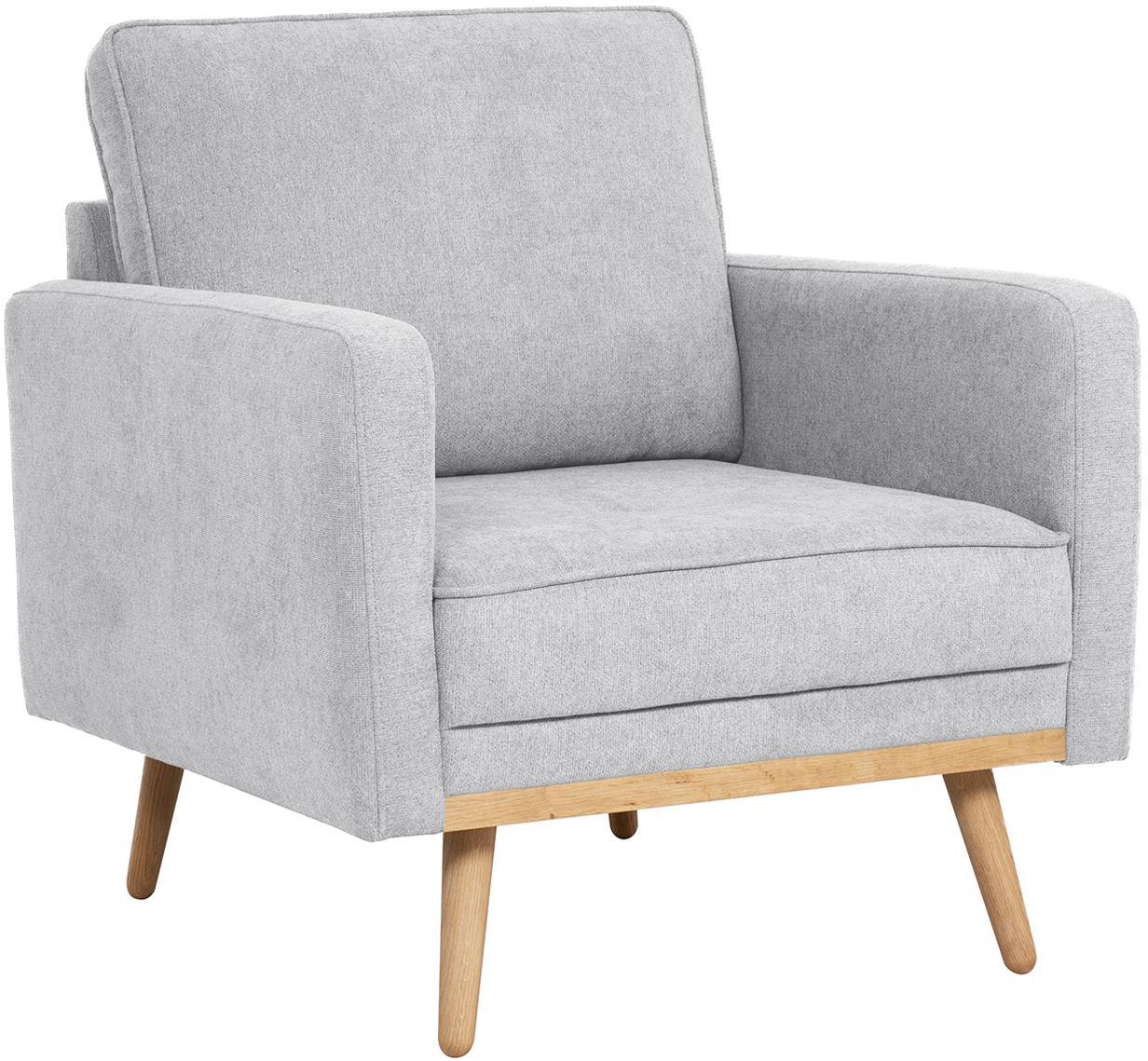 Fauteuil Saint, Bekleding: polyester, Frame: massief grenenhout, spaan, Geweven stof lichtgrijs, B 85 x D 76 cm