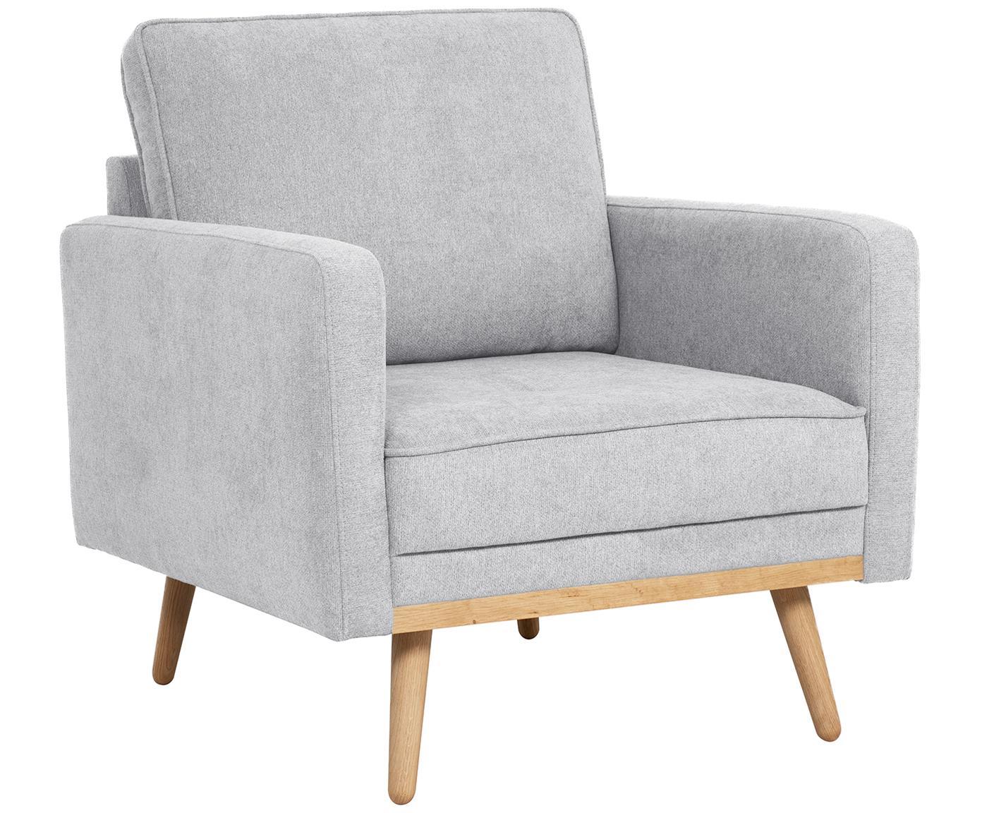 Fauteuil Saint, Bekleding: polyester, Frame: massief grenenhout, spaan, Bekleding: lichtgrijs. Poten en frame: eikenhoutkleurig, B 85 x D 76 cm