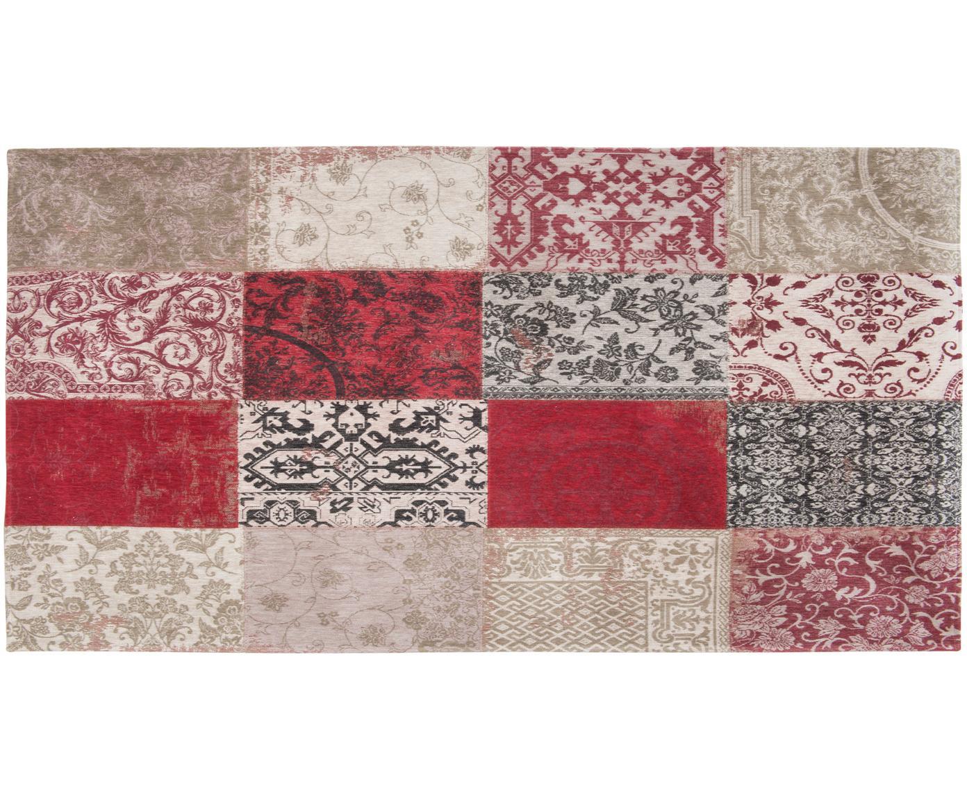 Chenille-Teppich Multi mit Patchwork-Design, Vorderseite: 85%Chenillegarn (Baumwol, Webart: Jacquard, Rückseite: Baumwollgemisch, latexbes, Rot, Beige, Schwarz, B 80 x L 150 cm (Größe XS)