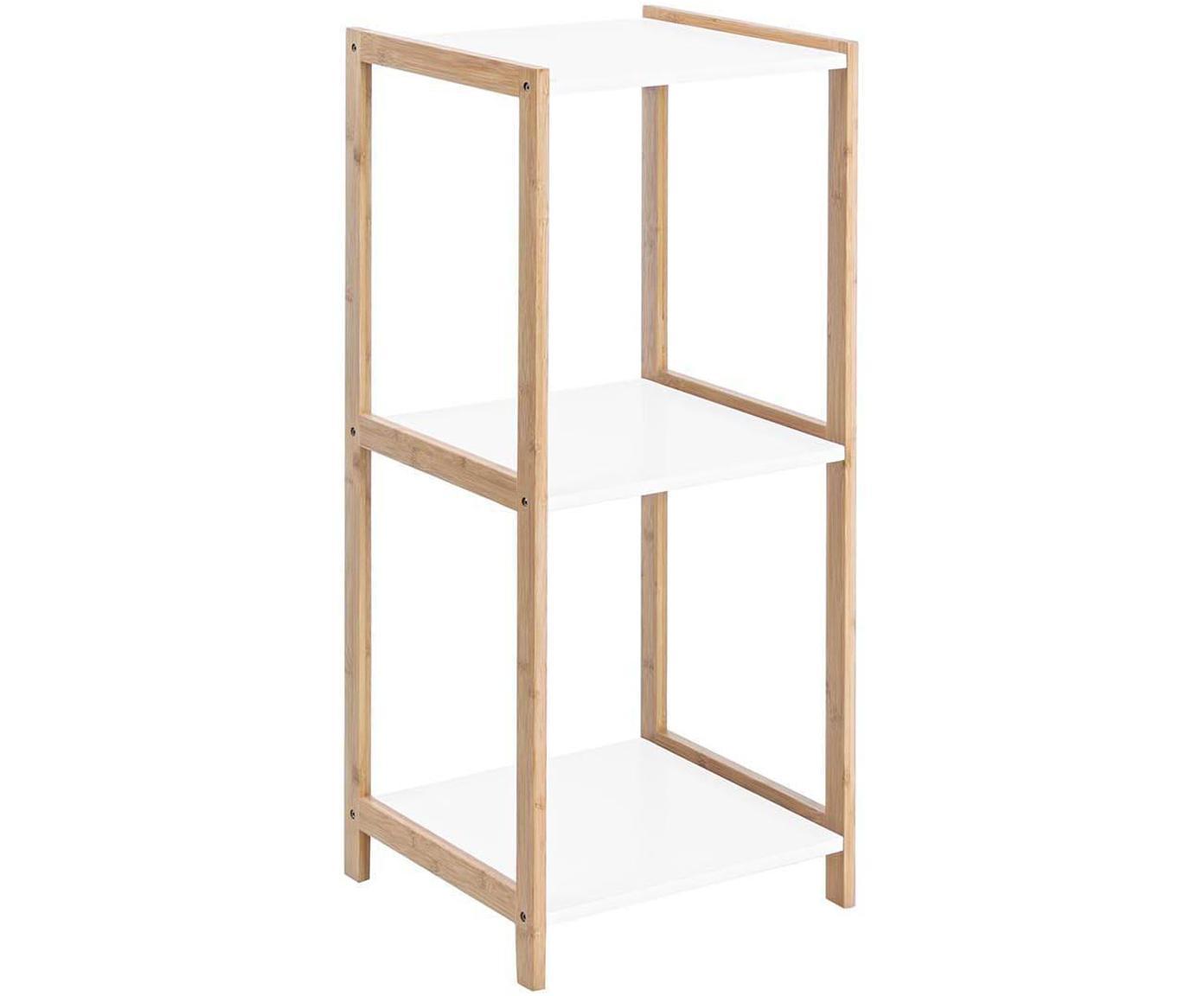 Estantería Brooklyn, Estructura: madera de bambú, Estantes: tablero de fibras de dens, Blanco, beige, An 32 x Al 79 cm