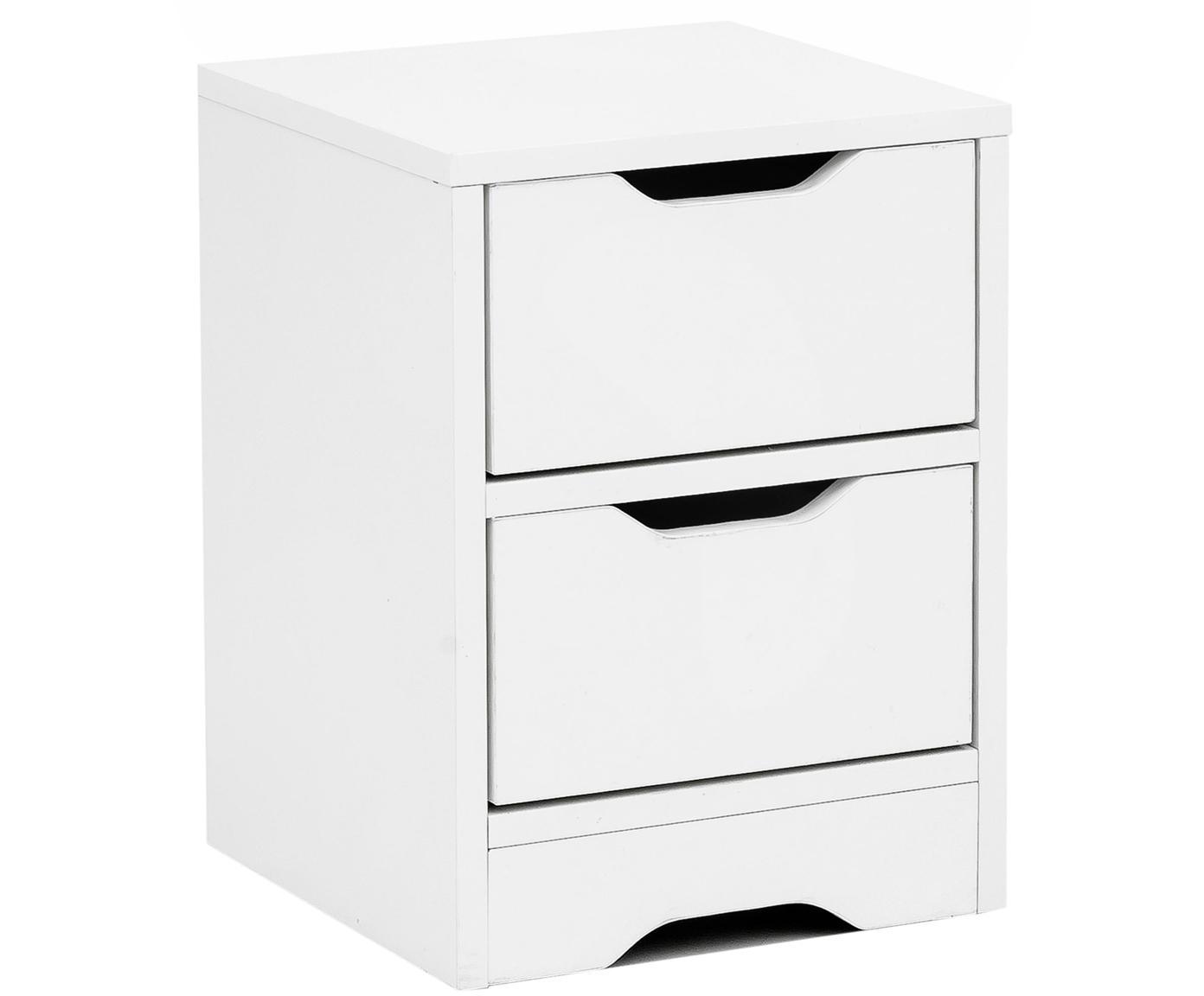 Nachttisch Wohnling mit 2 Schubladen, Spanplatte, melaminbeschichtet, Weiß, 31 x 42 cm