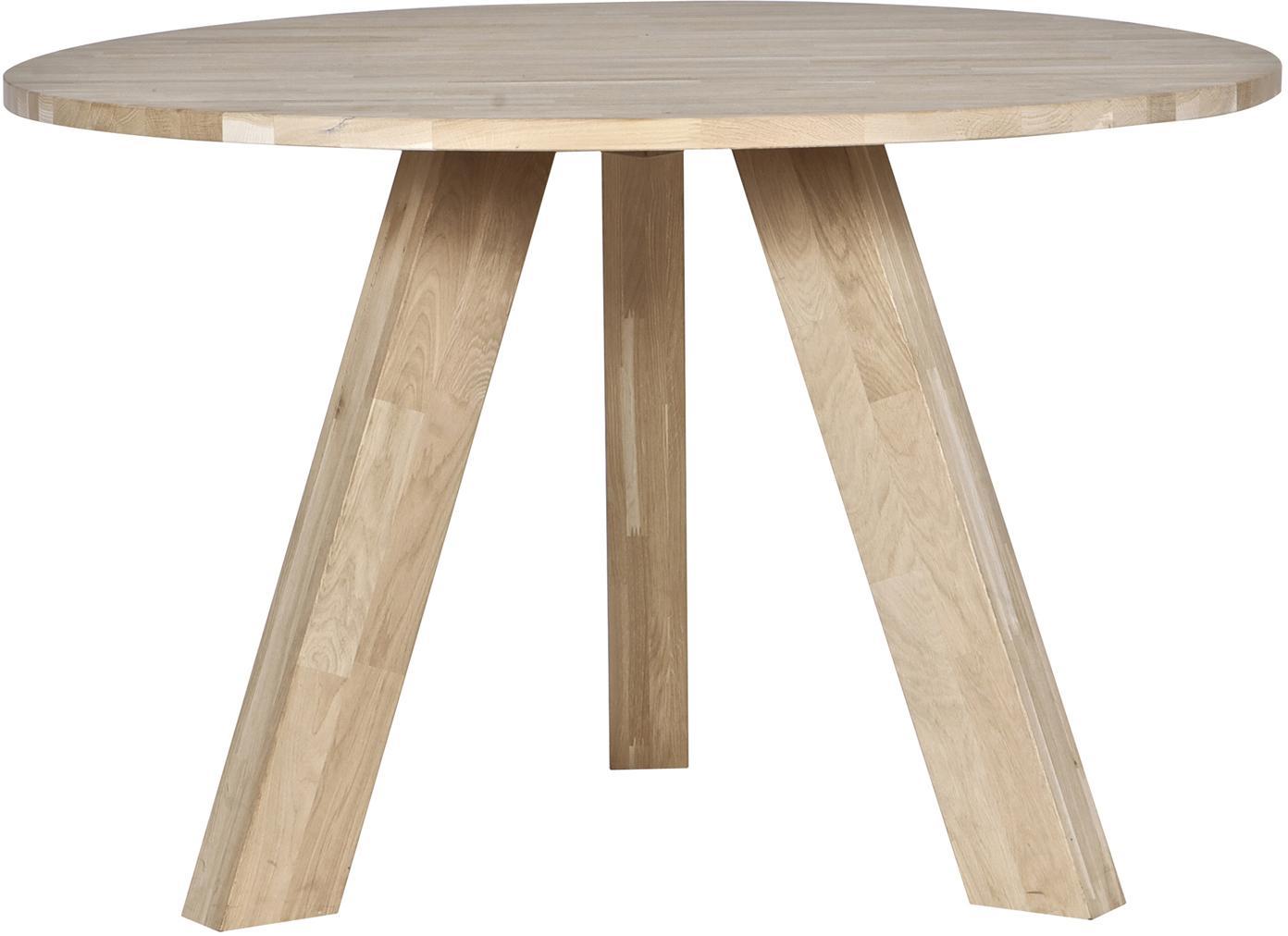 Mesa de comedor redonda de madera maciza Rhonda, Madera de roble, Roble, Ø 129 x Al 75 cm