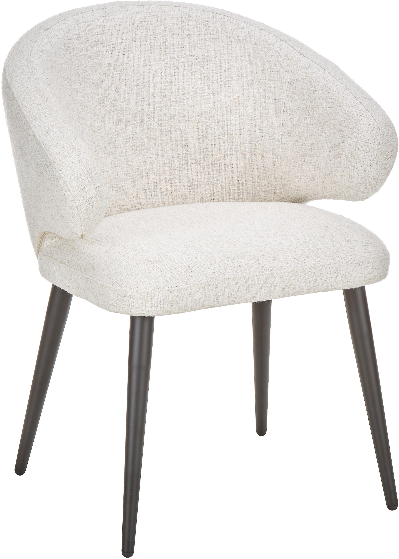 Sedia moderna con braccioli Celia, Rivestimento: Bouclé (70% poliestere, 2, Gambe: metallo verniciato a polv, Bouclé bianco crema, Larg. 57 x Prof. 62 cm