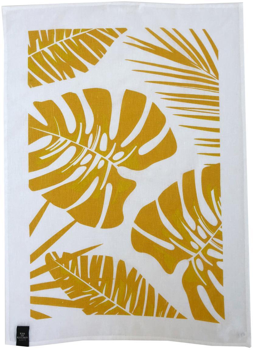 Ręcznik kuchenny Urban Jungle, 2 szt., 50% len, 50% bawełna, Biały, żółty, S 50 x D 70 cm