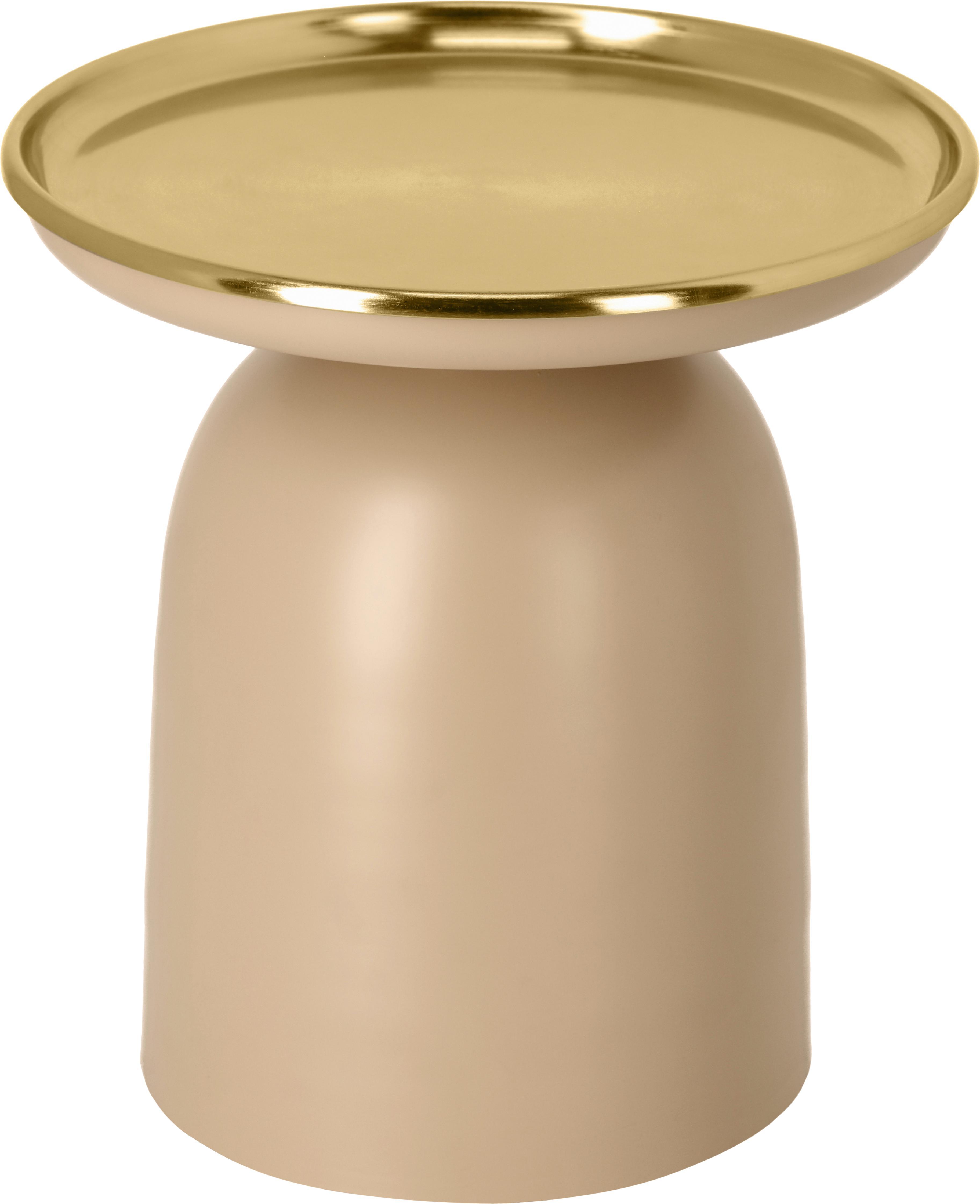 Runder Beistelltisch Neiva in Rosabeige, Metall, beschichtet, Rosabeige, Goldfarben, Ø 38 x H 39 cm