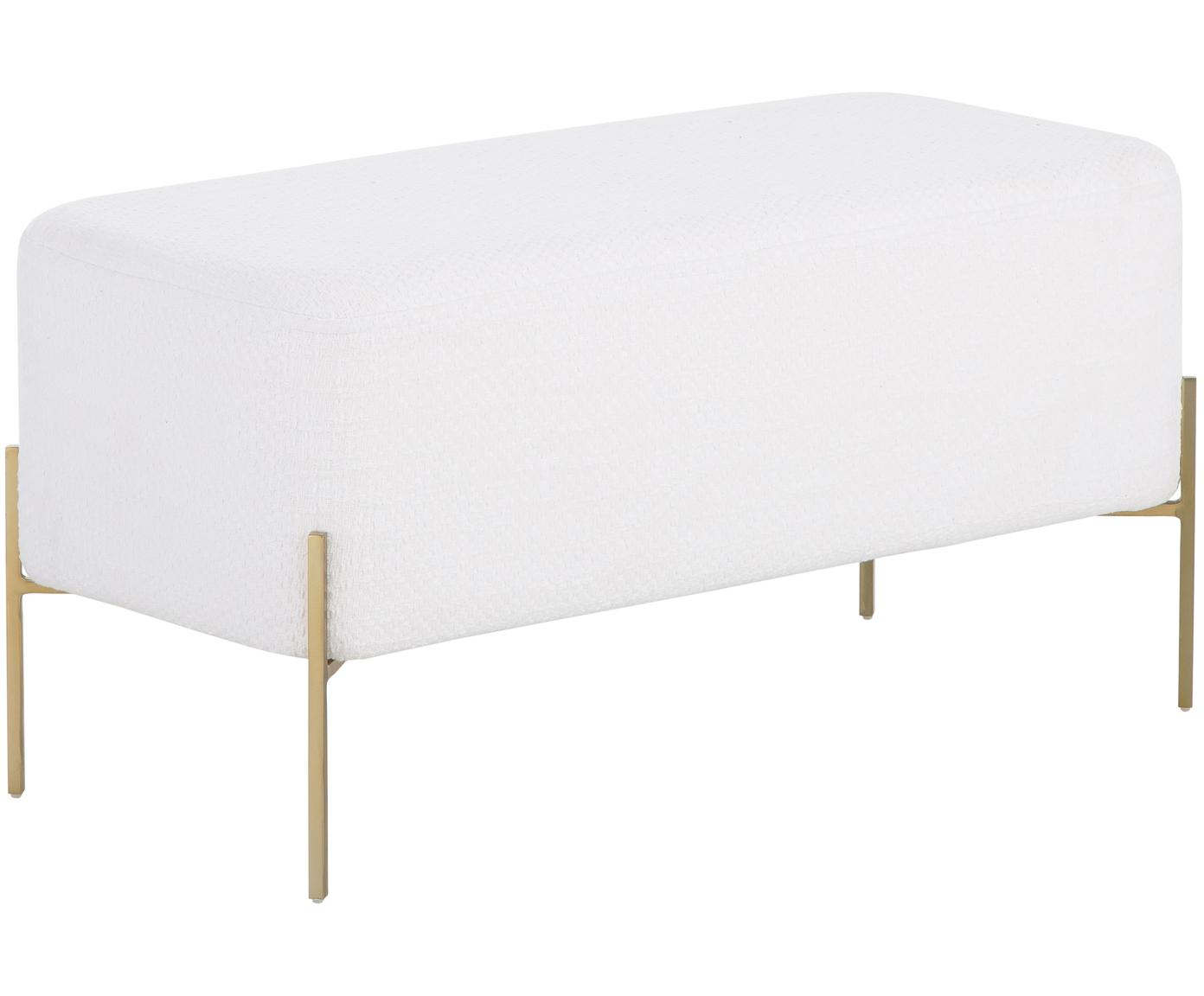 Panca imbottita bouclé Harper, Rivestimento: cotone, Crema, dorato, Larg. 90 x Alt. 44 cm