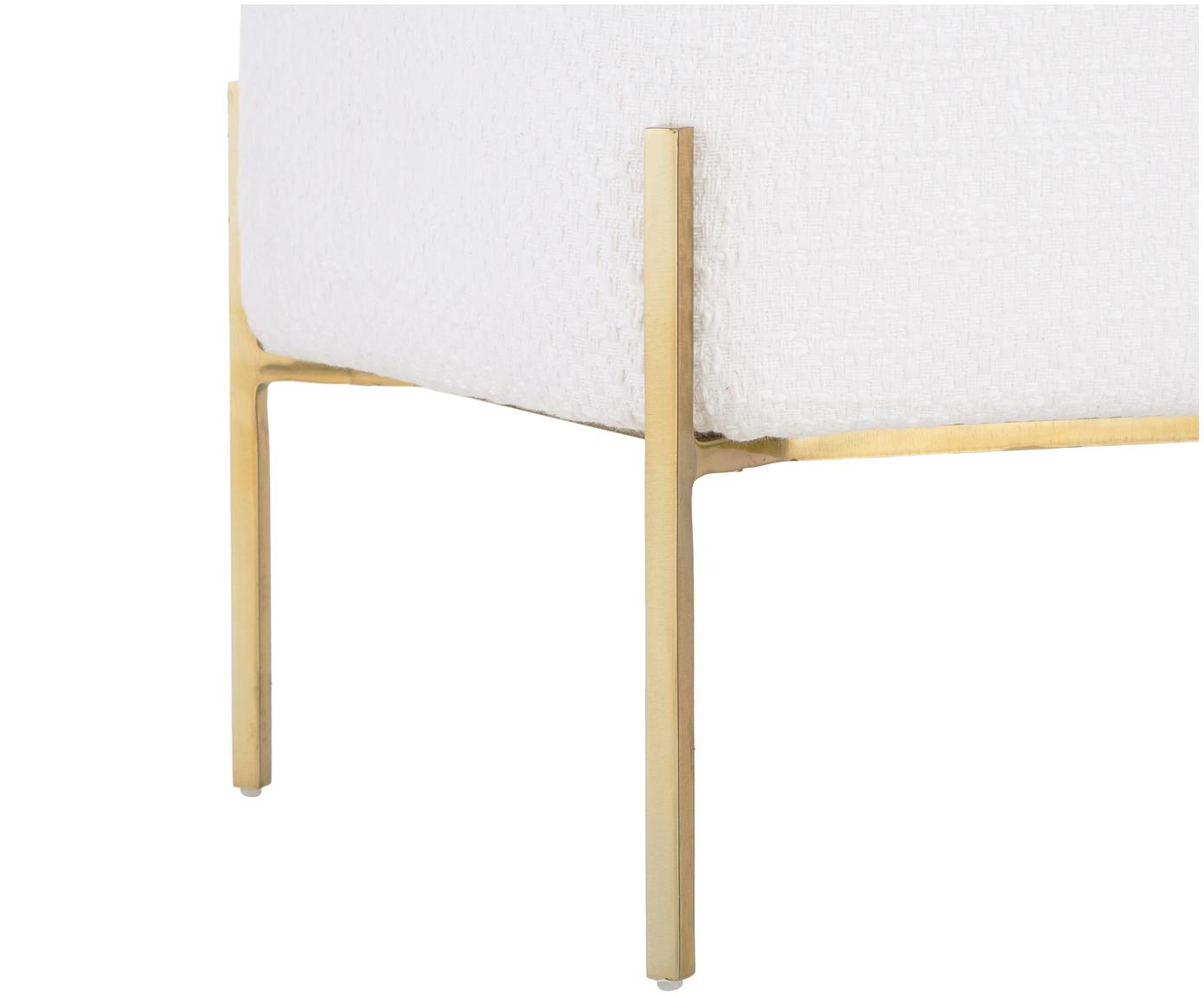 Ławka bouclé Harper, Tapicerka: bawełna, Kremowy, odcienie złotego, S 90 x W 44 cm