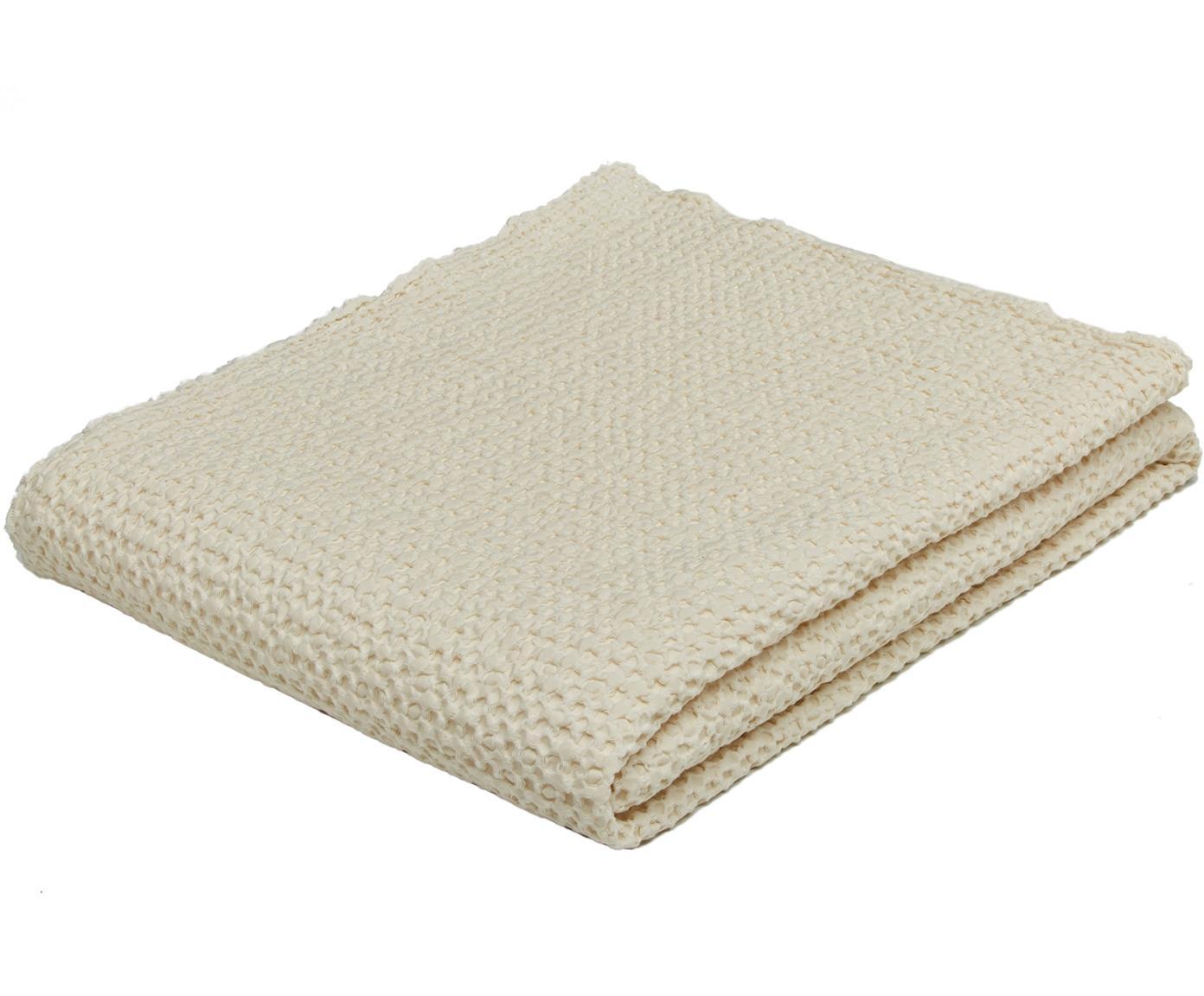 Copriletto in cotone color crema Vigo, 100% cotone, Bianco, Larg. 220 x Lung. 240 cm