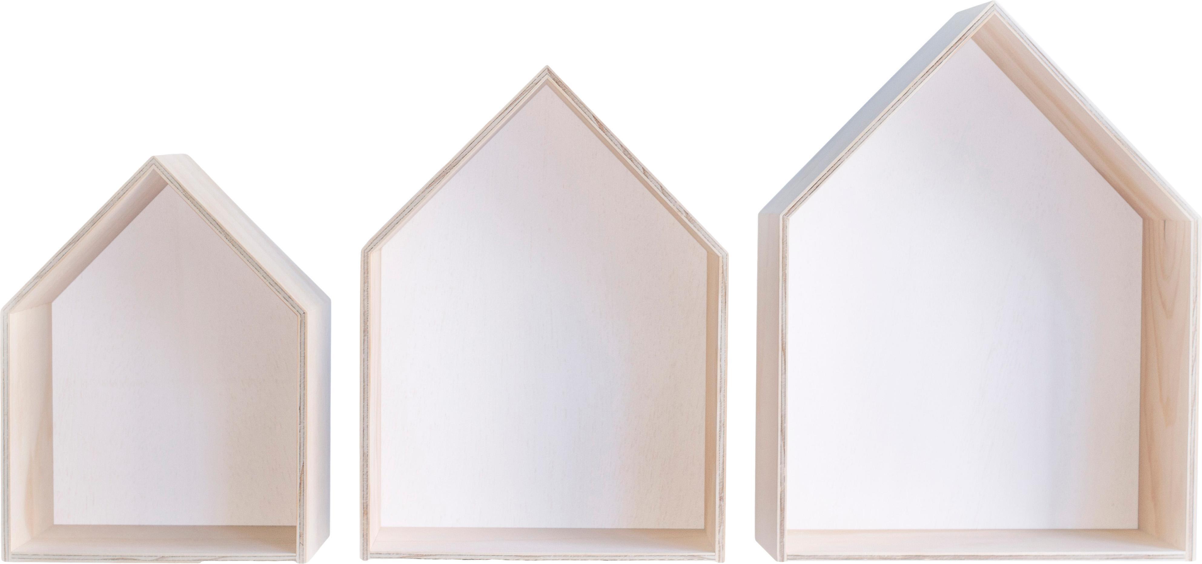 Wandregal-Set Blanca, 3-tlg., Sperrholz, Hellbraun, Weiss, Verschiedene Grössen