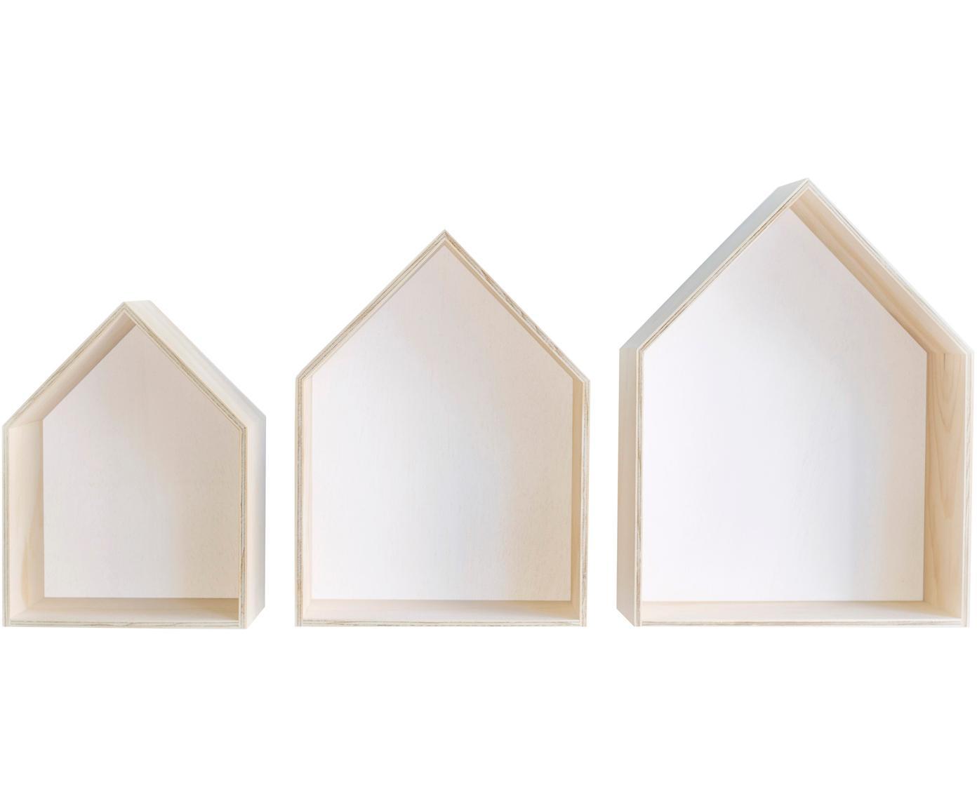 Set mensole a muro Blanca, 3 pz., Compensato, Marrone chiaro, bianco, Diverse dimensioni