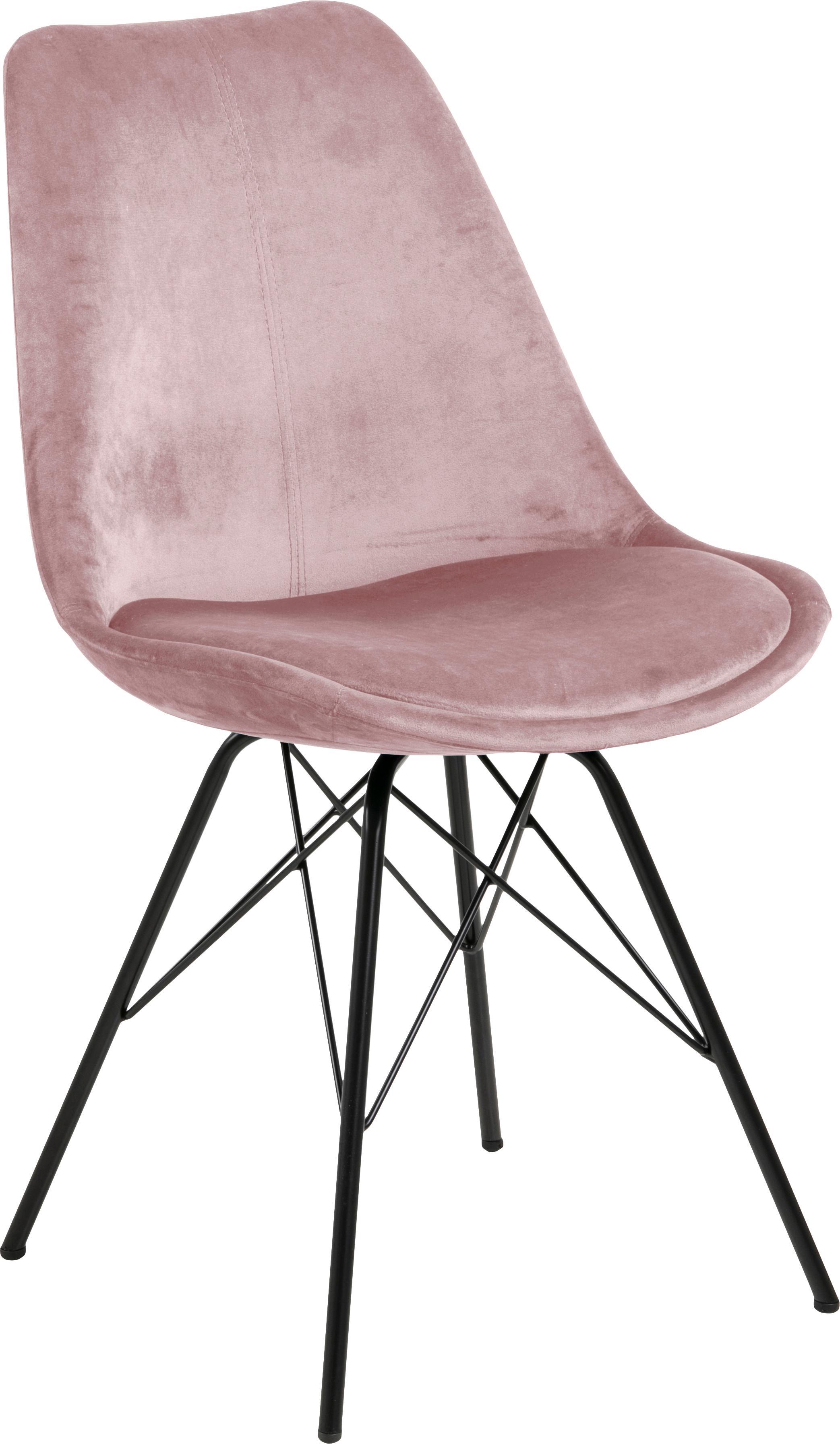 Krzesło tapicerowane z aksamitu Eris, 2 szt., Tapicerka: aksamit poliestrowy 2500, Nogi: metal malowany proszkowo, Aksamitny brudny różowy, nogi czarny, S 49 x G 54 cm