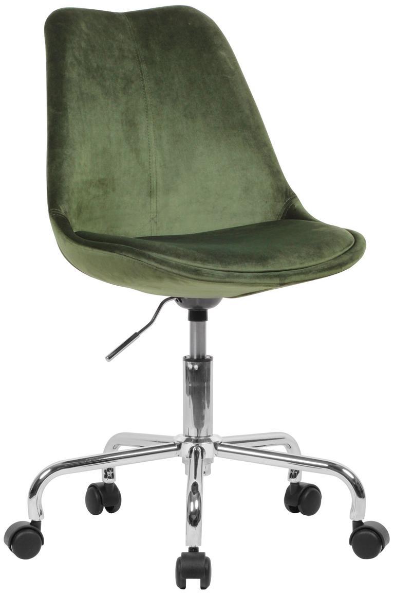 Silla giratoria de terciopelo Lenka, altura regulable, Tapizado: terciopelo, Estructura: metal, cromado, Terciopelo verde, An 65 x F 56 cm