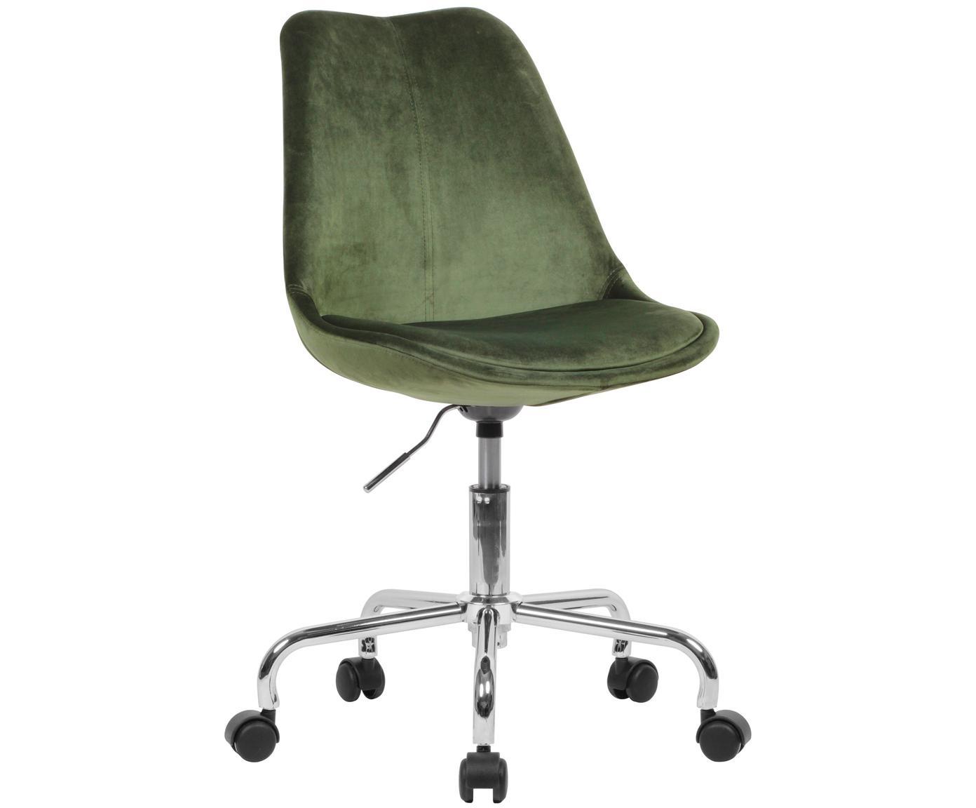 Sedia da ufficio girevole in velluto Lenka, Rivestimento: velluto, Struttura: metallo cromato, Verde scuro, Larg. 65 x Prof. 56 cm