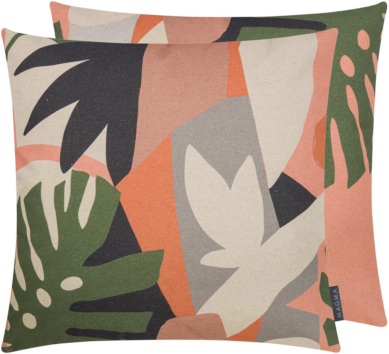 Wendekissenhülle Images mit abstraktem tropischem Print, 85% Baumwolle, 15% Leinen, Rosa, Mehrfarbig, 50 x 50 cm