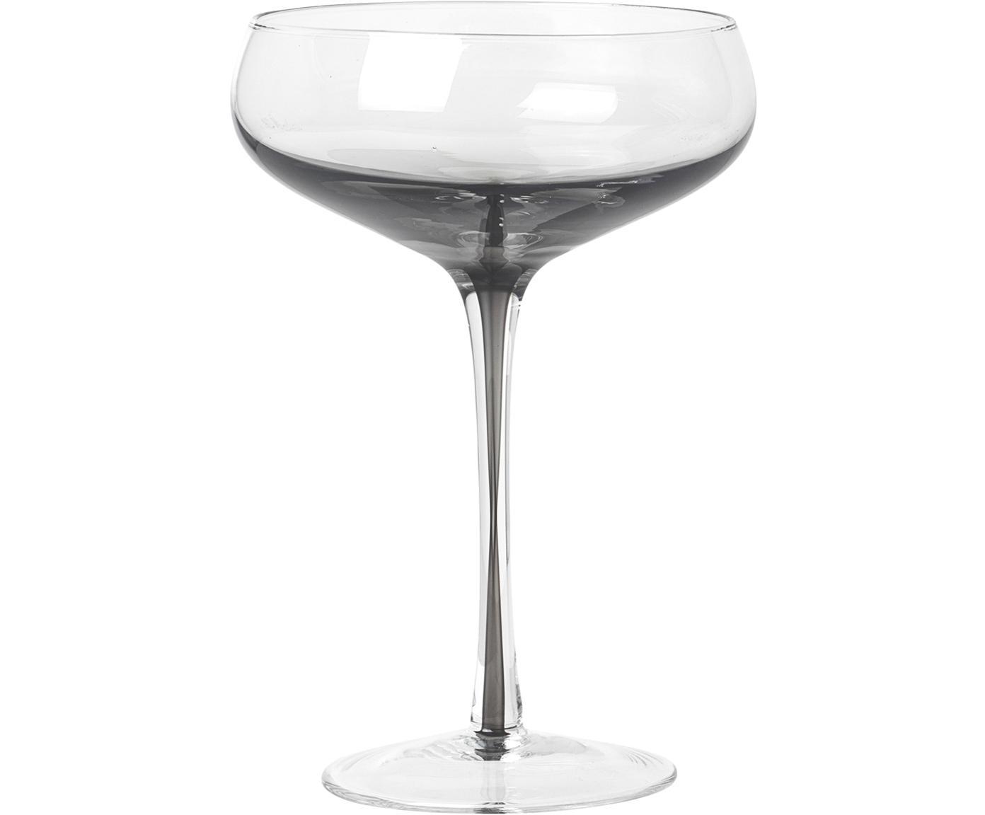 Kieliszek do szampana ze szkła dmuchanego Smoke, 4 szt., Szkło, Transparentny, ciemnyszary, Ø 11 x W 16 cm