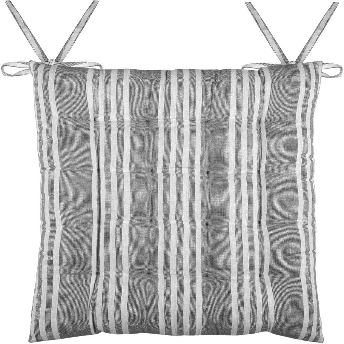 Stoelkussen Mandelieu, Katoenmix, Donkergrijs, wit, 40 x 40 cm