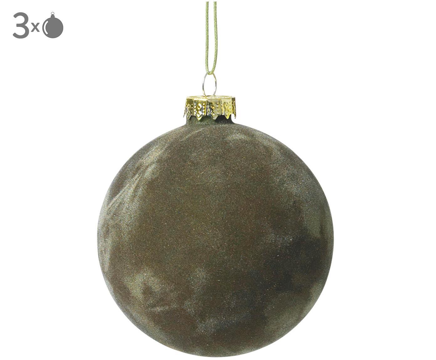 Fluwelen kerstballen Alcan, 3 stuks, Donkergroen, Ø 8 x H 8 cm