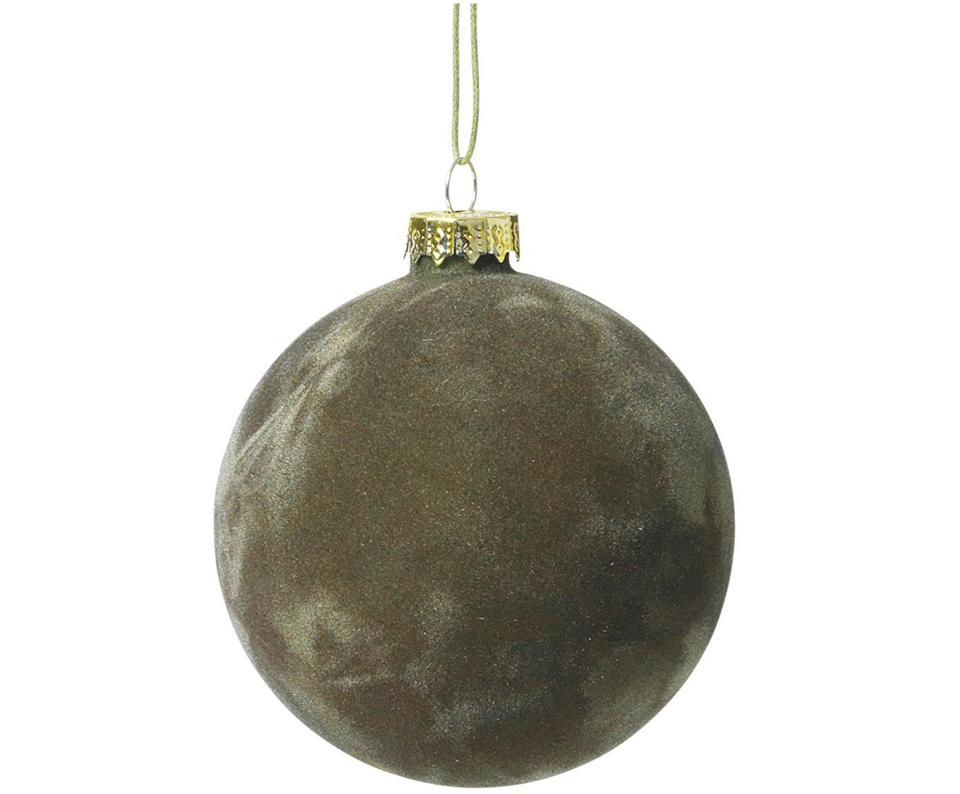 Samt-Weihnachtskugeln Alcan Ø8cm, 3Stück, Dunkelgrün, Ø 8 cm