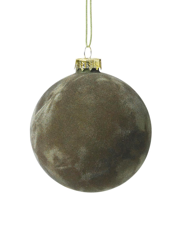 Bola de Navidad de terciopelo Alcan, Ø8cm, 3uds., Verde oscuro, Ø 8 cm