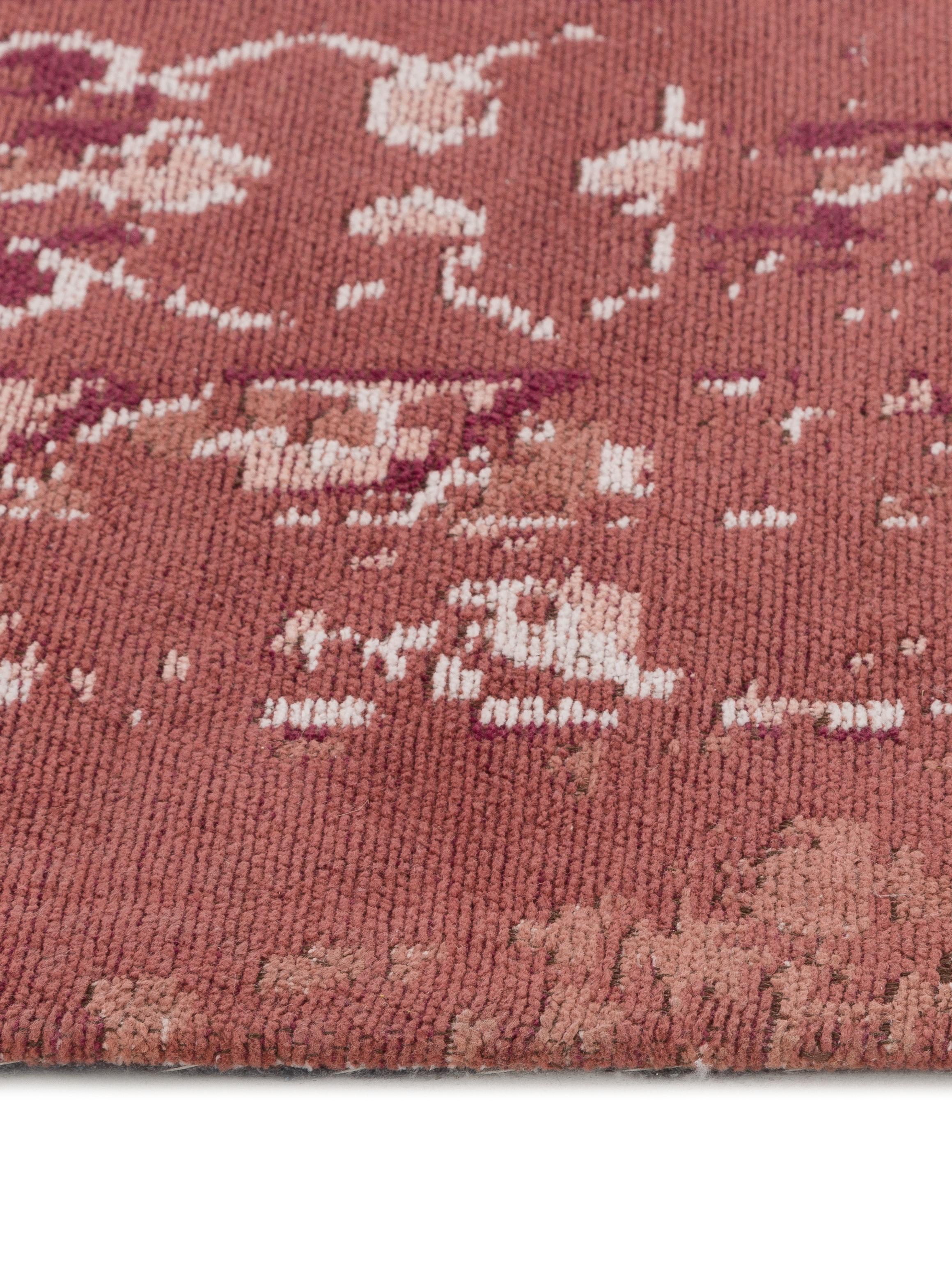 Alfombra artesanal de chenilla Rebel, estilo vintage, Parte superior: 95%algodón, 5%poliéster, Reverso: 100%algodón, Rojo cobrizo, crema, rojo, An 120 x L 180  cm(Tamaño S)