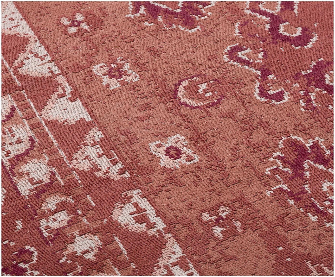 Vintage Chenilleteppich Rebel in Rot, Flor: 95% Baumwolle, 5% Polyest, Rostrot, Creme, Rot, B 120 x L 180 cm (Grösse S)
